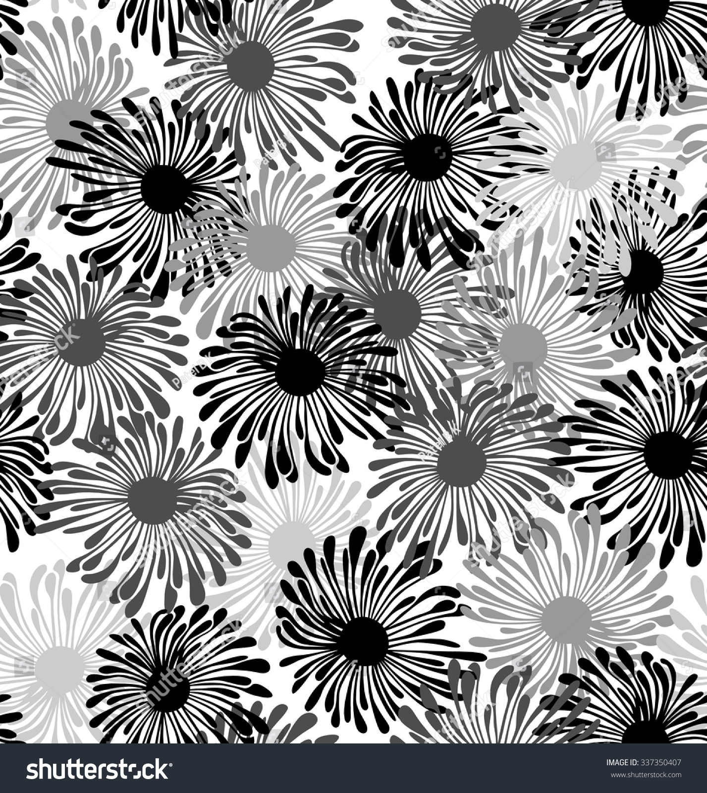 Seamless Black Silver Floral Wallpaper Royalty Free Stock Image