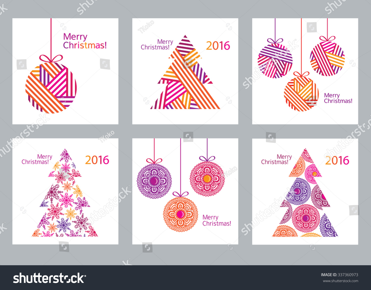 Happy New Year 2016 Merry Christmas Set of creative 6 Christmas cards Christmas Posters set Template for Greeting Congratulations Invitations Vector illustration