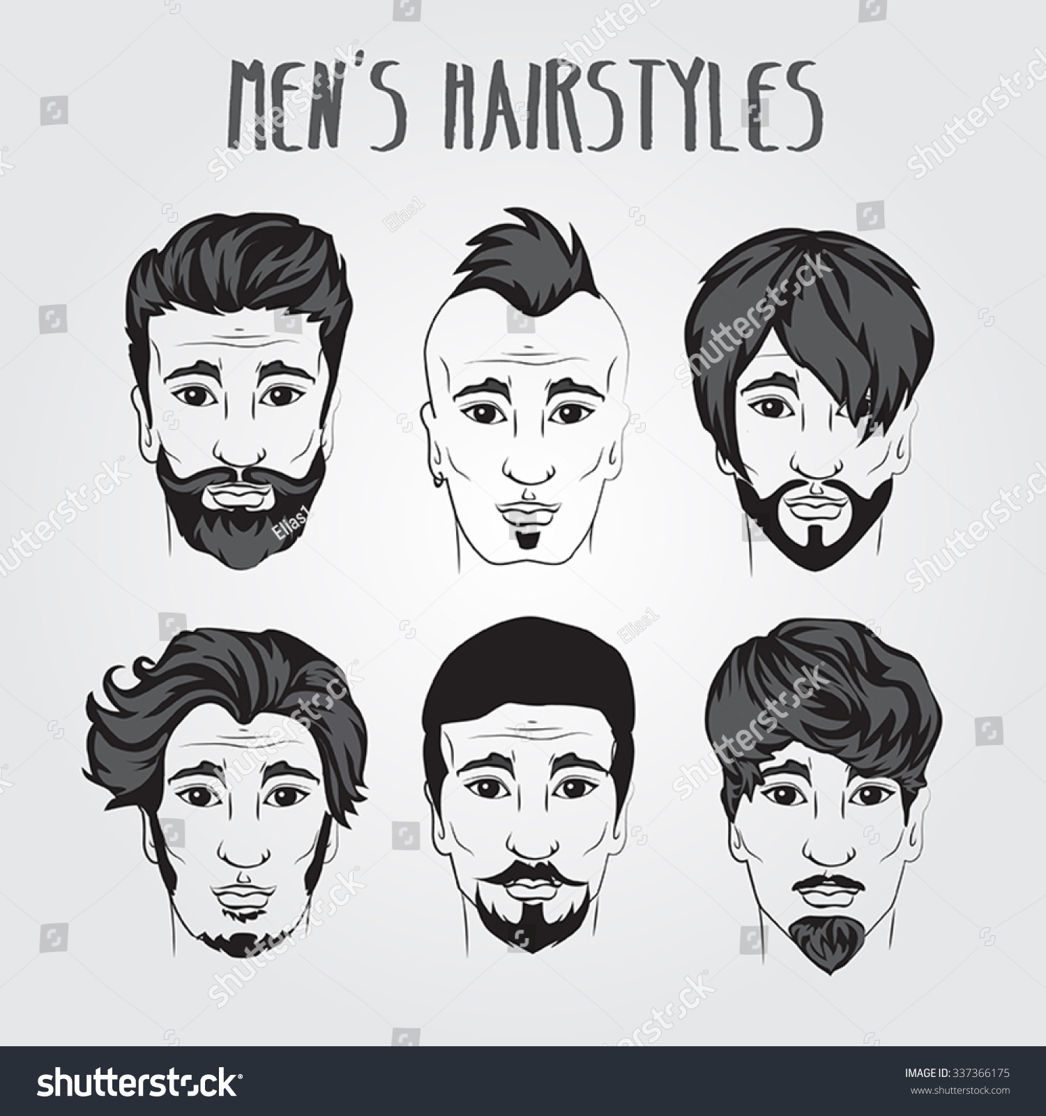 Different Mens Style Haircuts Beard Collection Stock Vector Royalty
