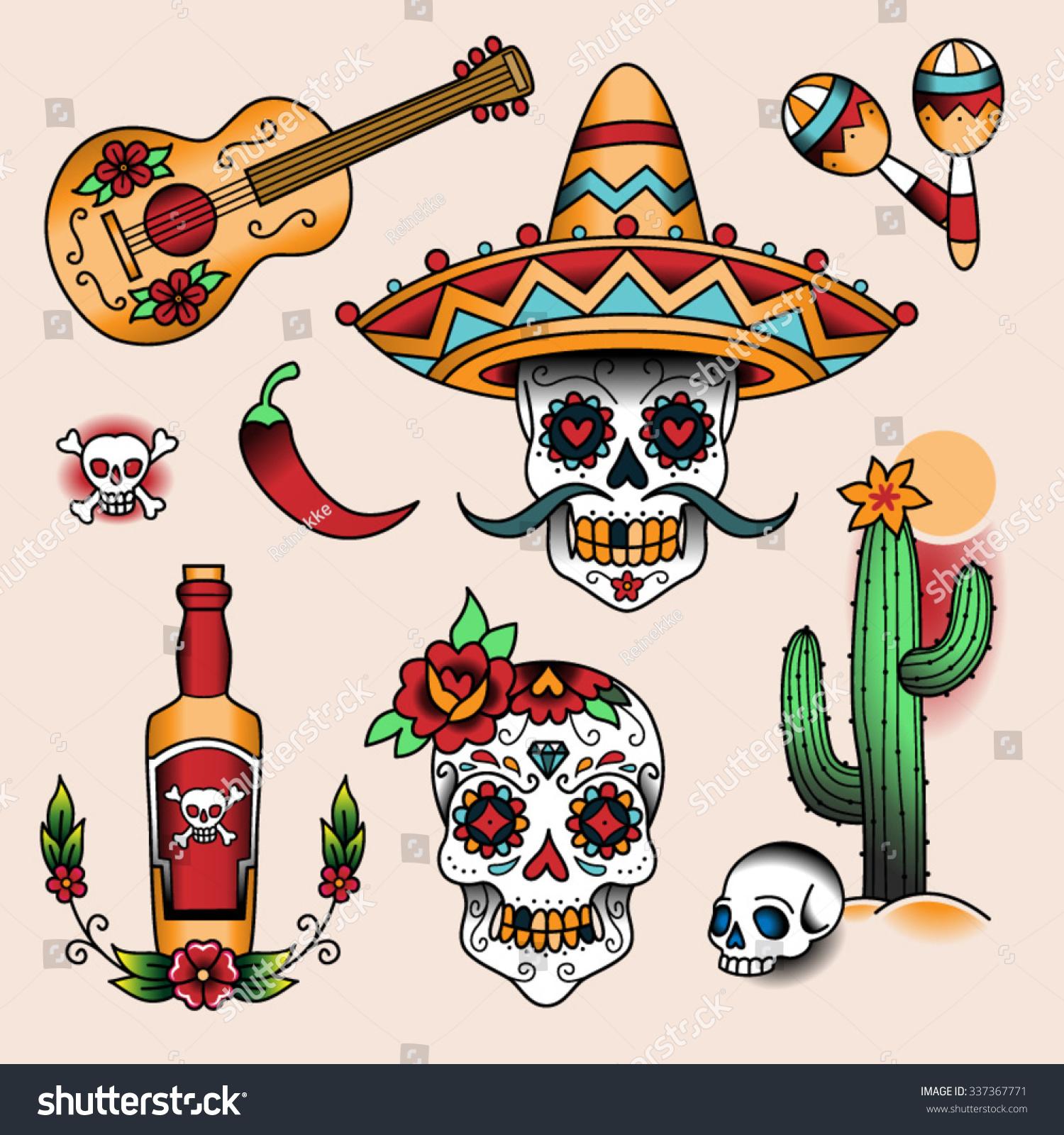 mexican symbols set color tattoos traditional stock vector 337367771 shutterstock. Black Bedroom Furniture Sets. Home Design Ideas