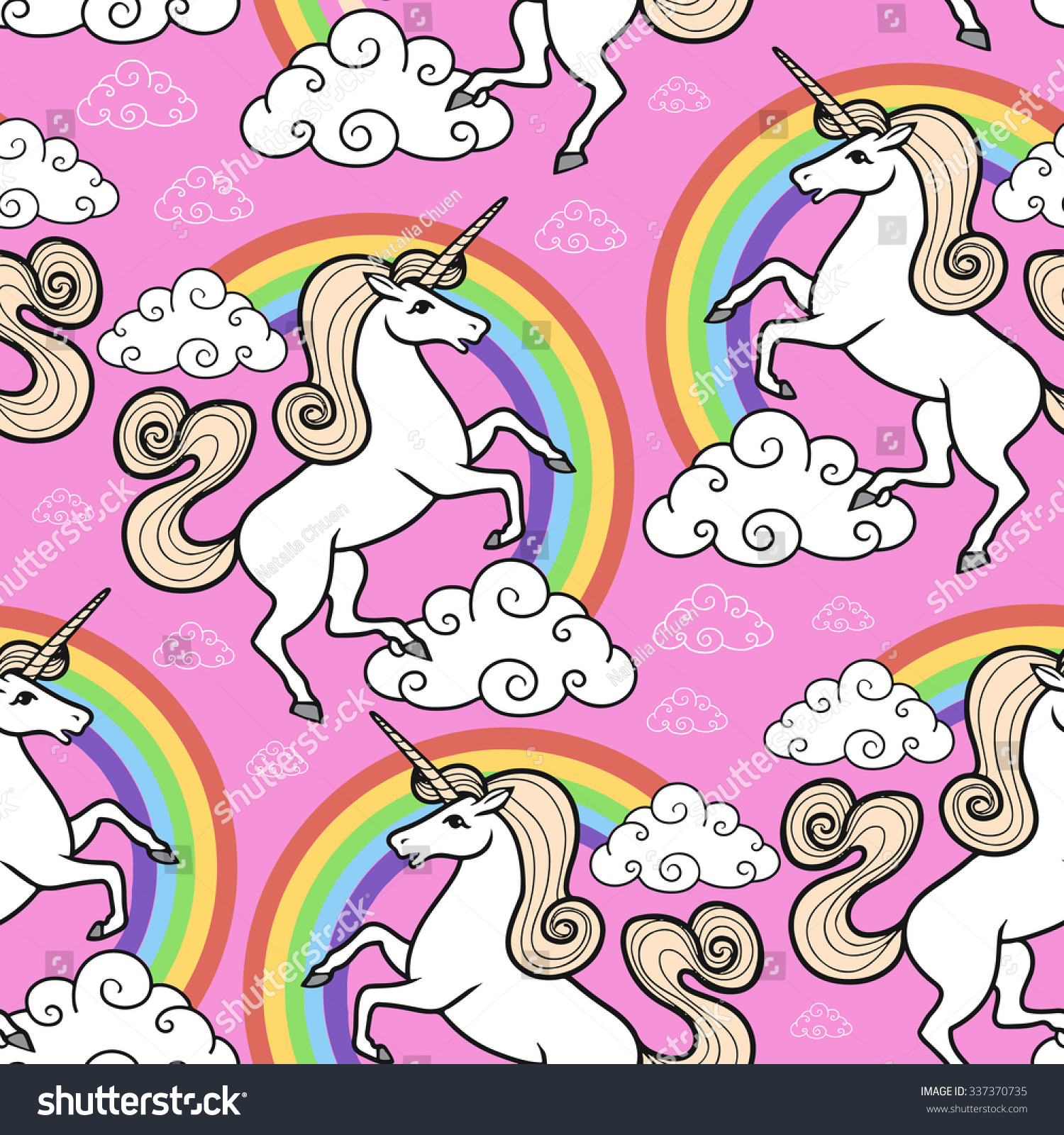 cartoon seamless pattern unicorn rainbow clouds stock vector