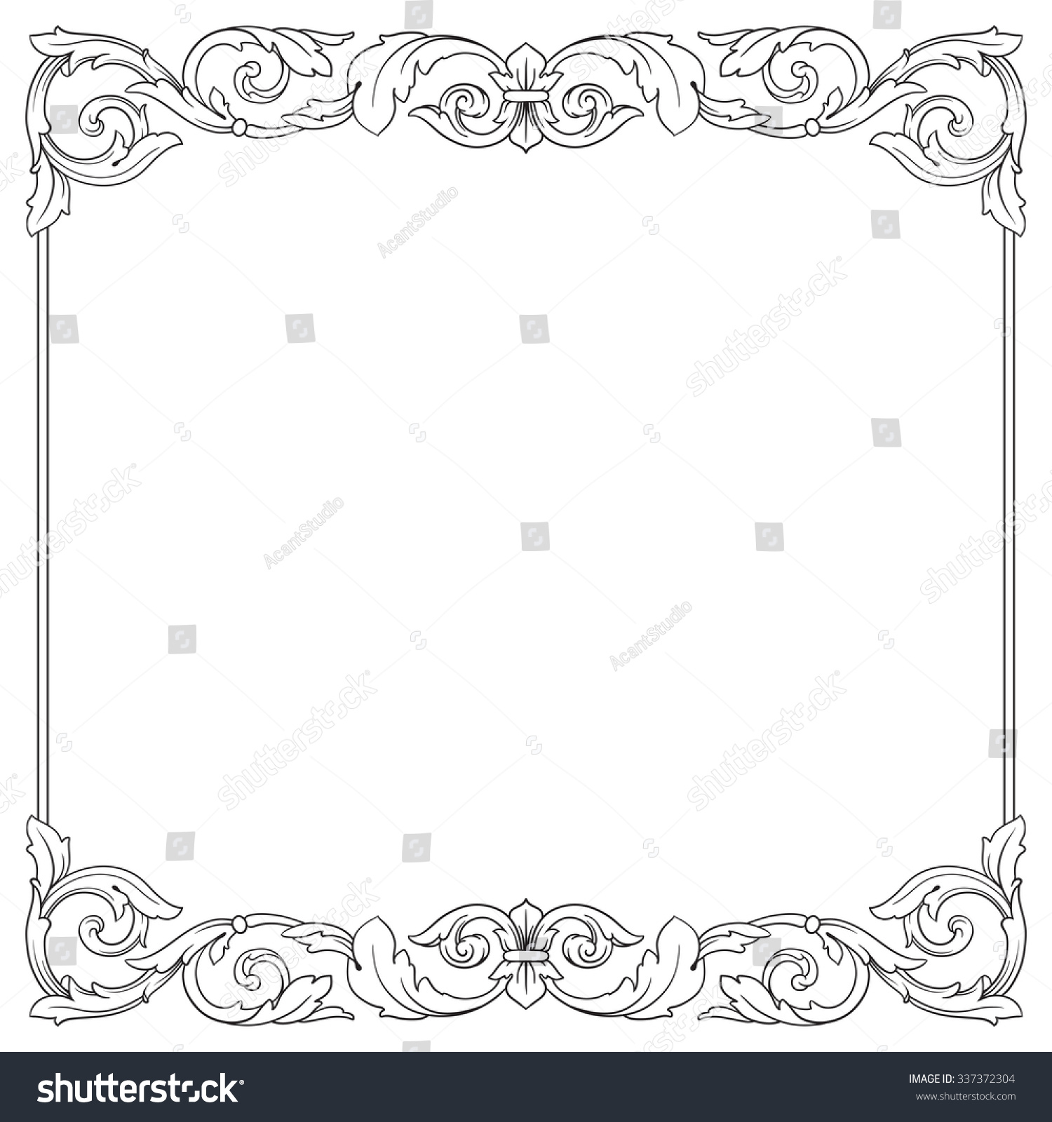 Vintage baroque frame scroll ornament engraving border floral retro pattern antique style acanthus foliage swirl decorative design element filigree calligraphy vector damask stock vector