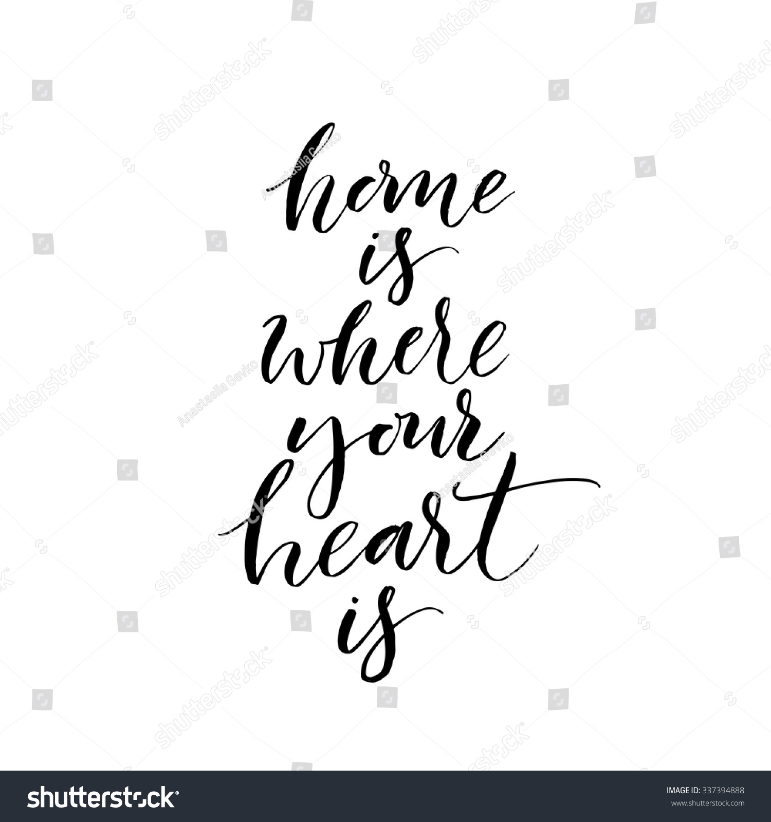 Home is where your heart card hand drawn lettering