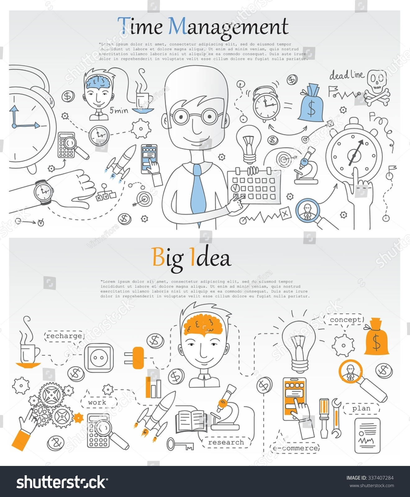 Doodle Line Design Web Banner Template Stock Vector 337407284 ...