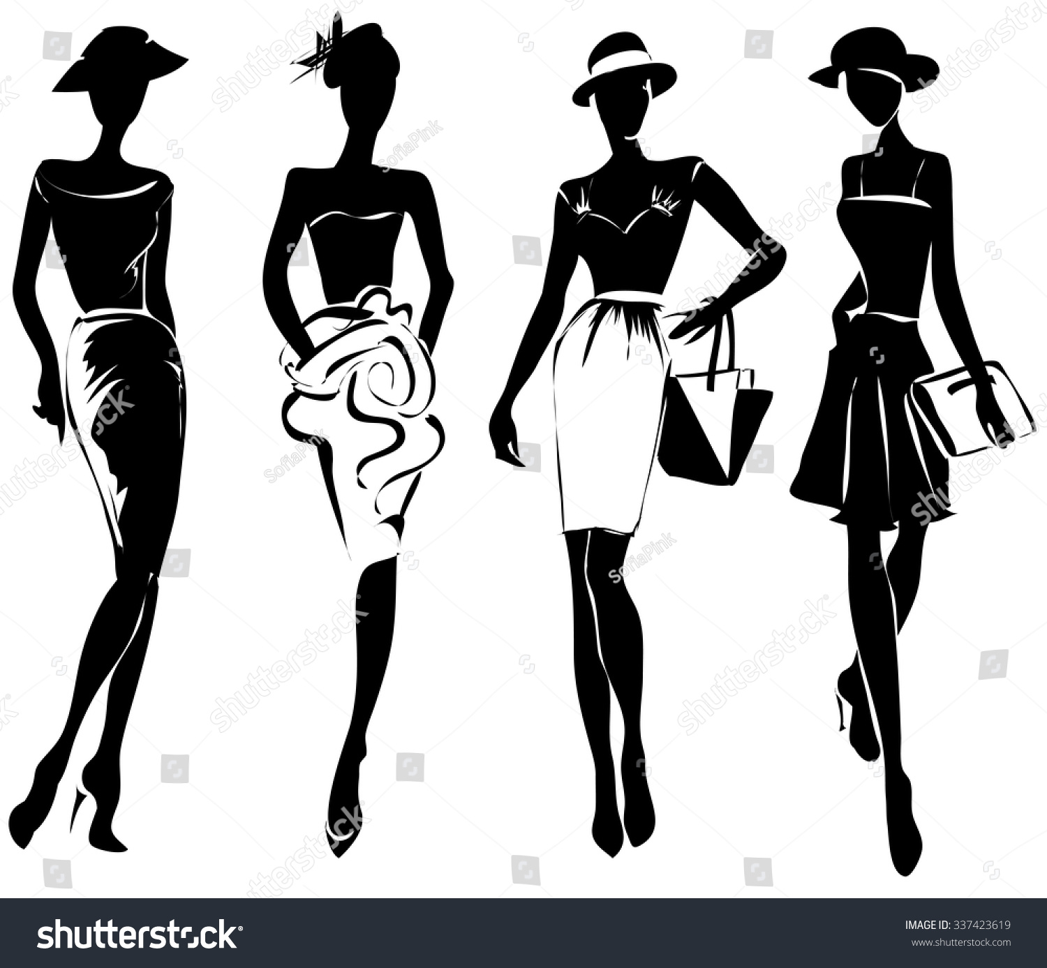 Black And White Retro Fashion Models In Sketch Style Hand Drawn Vector Illustration 337423619