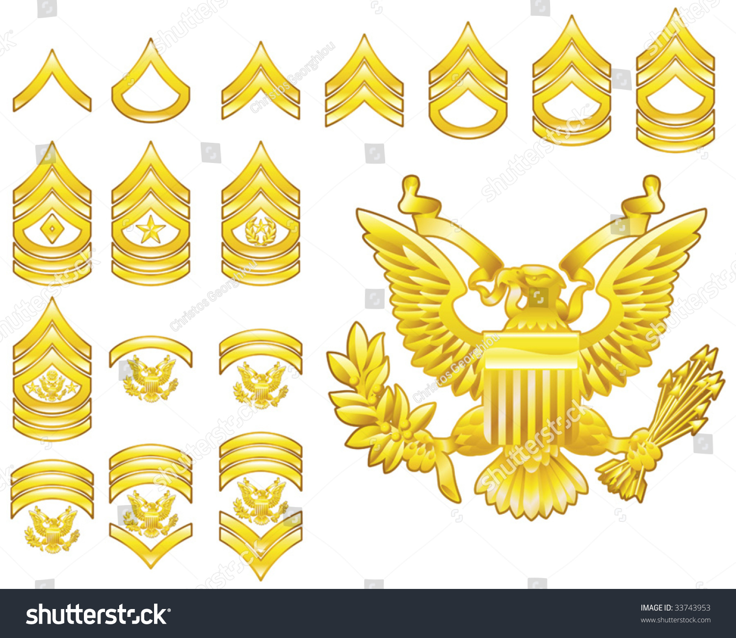 Set Military American Army Enlisted Rank Stock Vector
