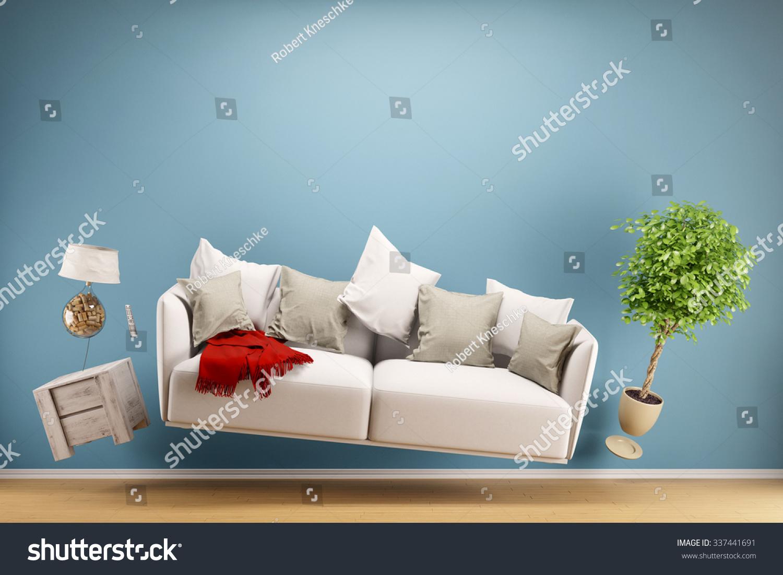 Zero gravity sofa hovering living room stock illustration - Zero gravity recliner chair for living room ...