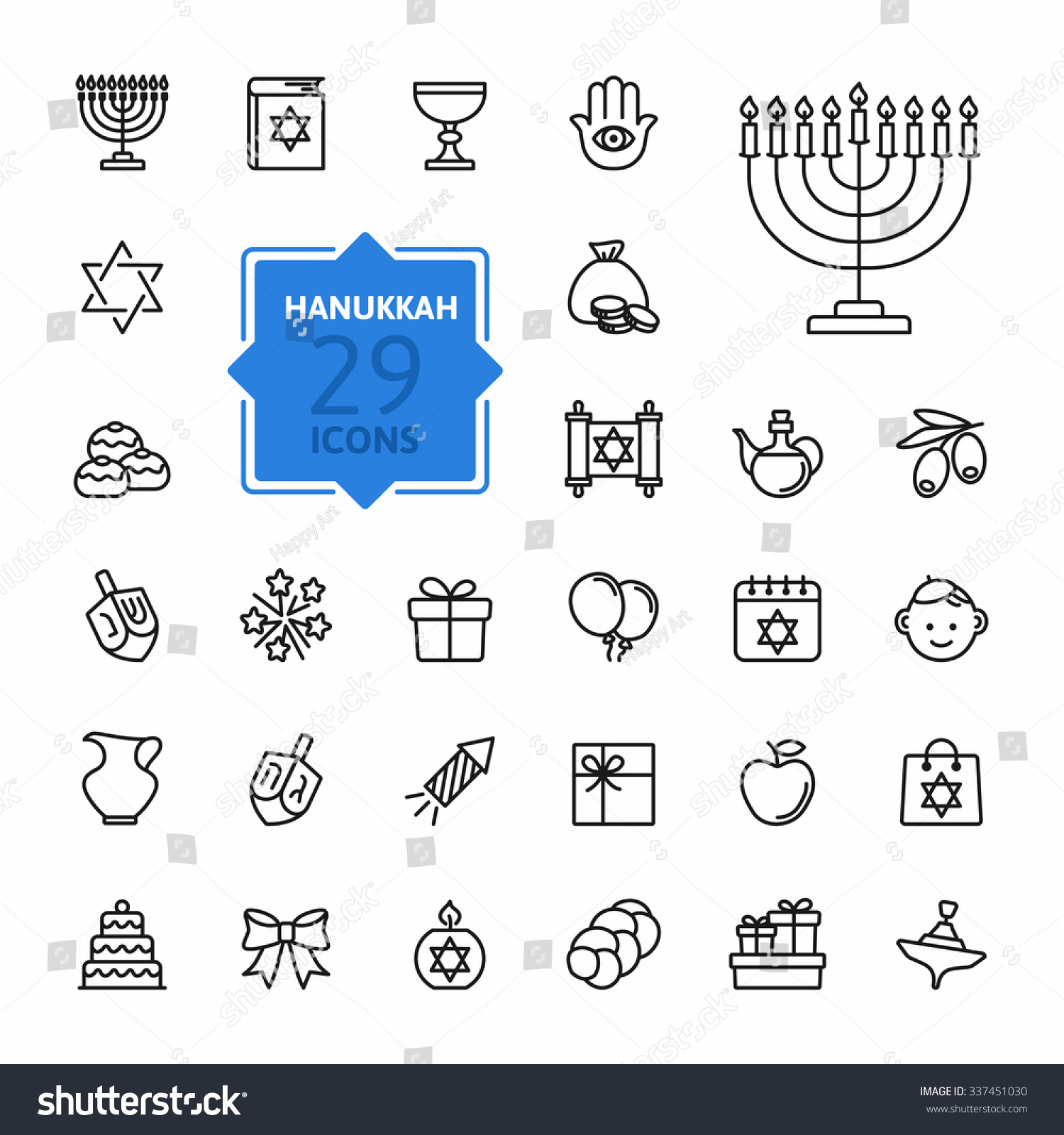 Outline icon collection symbols hanukkah stock vector 337451030 outline icon collection symbols of hanukkah biocorpaavc