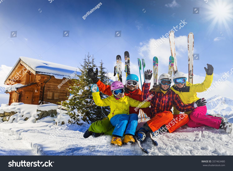 Ski winter snow family enjoying winter vacation stock for Best family winter vacations