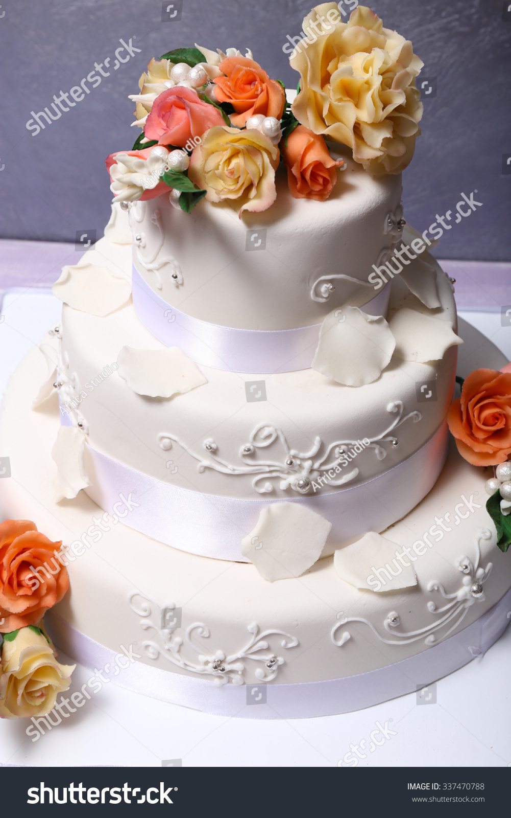 White Wedding Cake Decorated Flowers On Stock Photo 337470788 ...