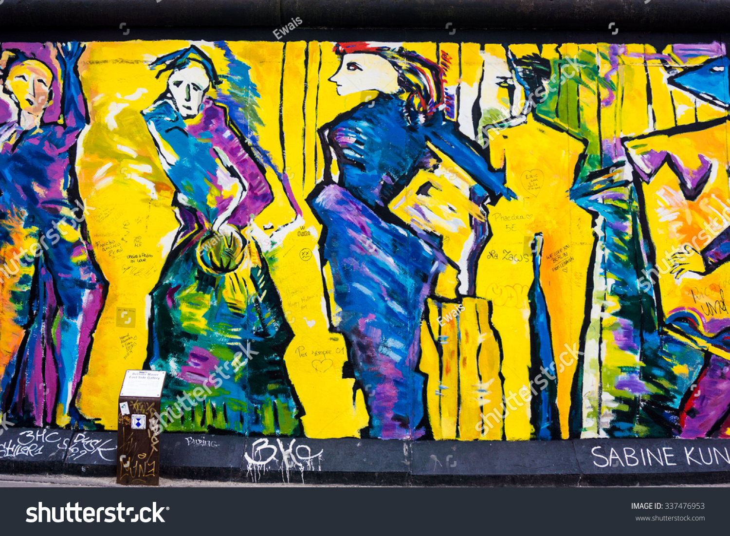 BERLIN, GERMANY - SEPTEMBER 28, 2015: Graffiti at the East Side ...