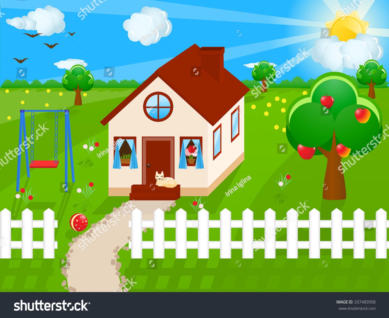 Vector Illustration Country House Garden Apple Stock