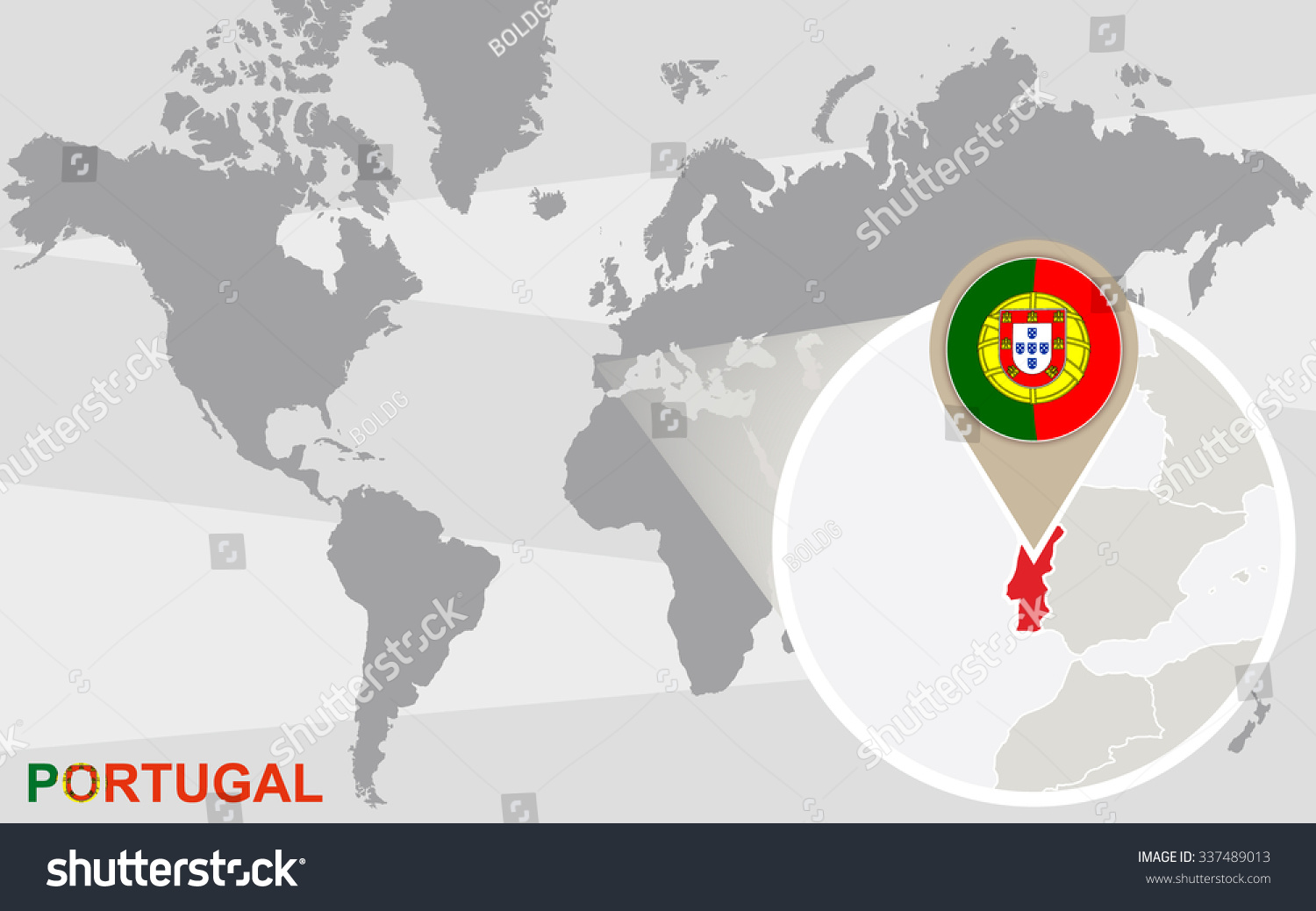 World map magnified portugal portugal flag stock illustration world map with magnified portugal portugal flag and map rasterized copy gumiabroncs Gallery