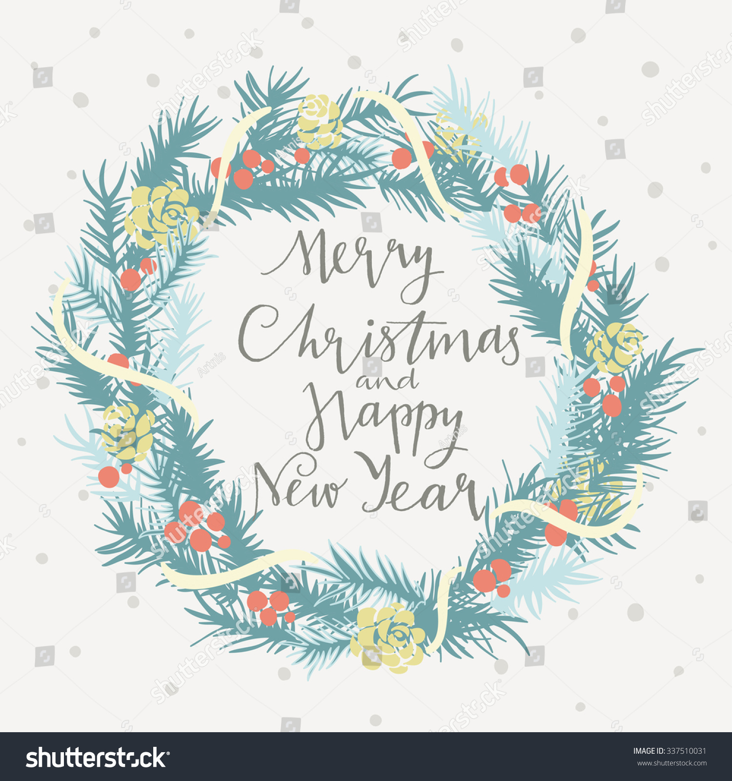merry christmas happy new year card stock vector royalty free 337510031 https www shutterstock com image vector merry christmas happy new year card 337510031