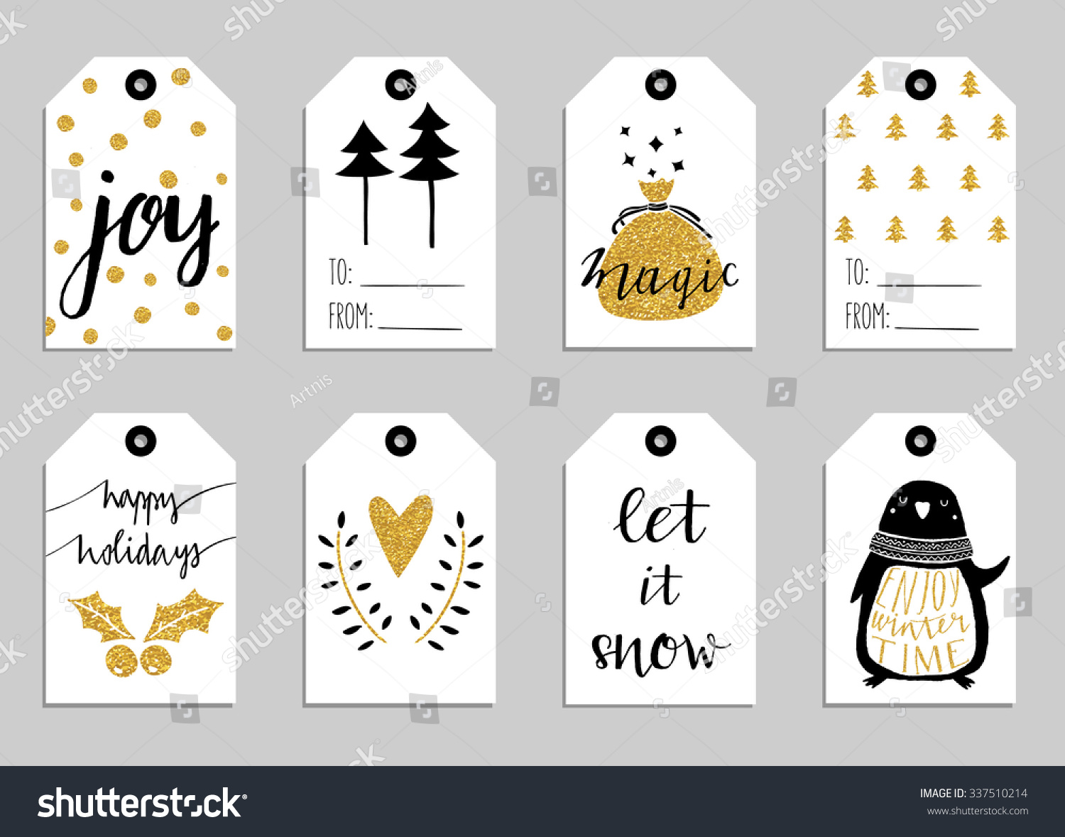 Cute Tags: Collection Of Eight Gold Texture Christmas And New Year