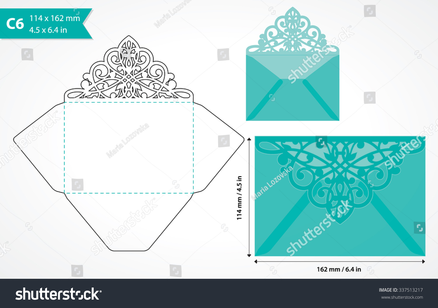 vector die cut envelope template c6 stock vector 337513217, Invitation templates