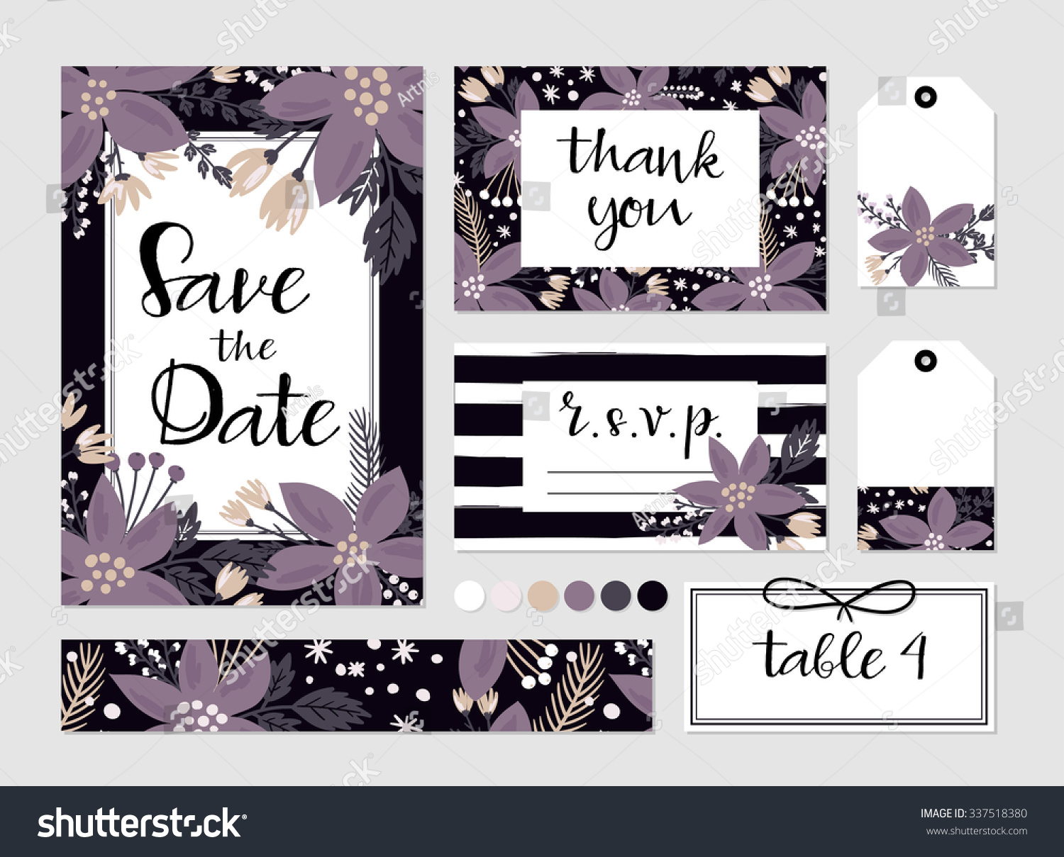 Winter Wedding Template Collection Flowers Poinsettia Stock Vector ...