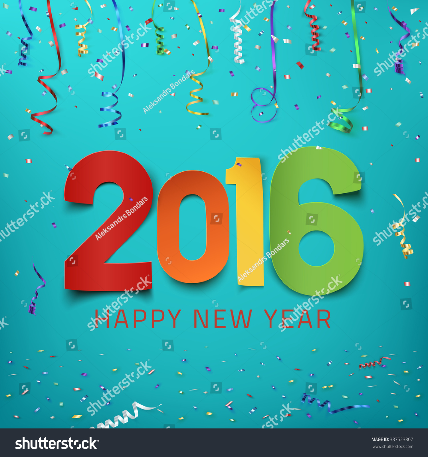 happy new year 2016 colorful paper stock vector 337523807