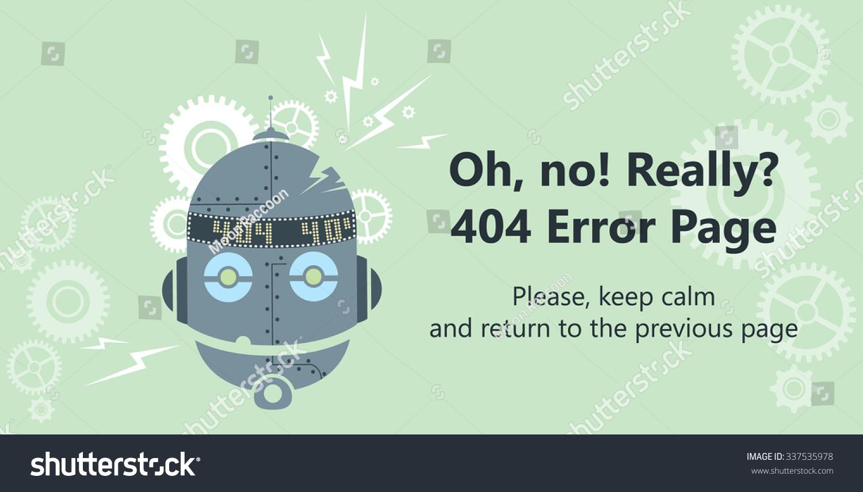 404 Error Page Vector Template Website Stock Vector Royalty Free