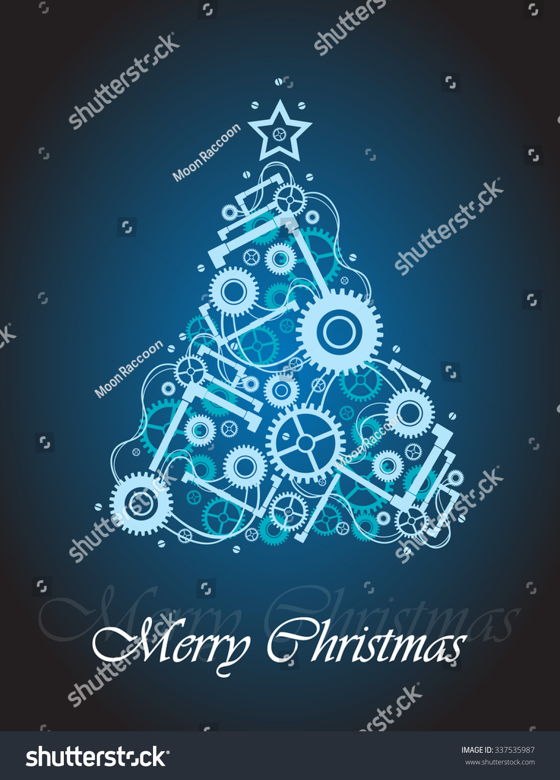 Vector christmas greeting card xmas tree stock vector royalty free vector christmas greeting card with xmas tree made of cogwheels bolts tubes and other m4hsunfo