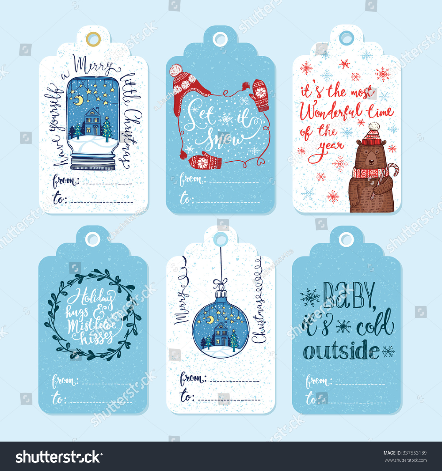 Set 6 Creative Christmas Gift Tags Stock Vector (Royalty Free ...