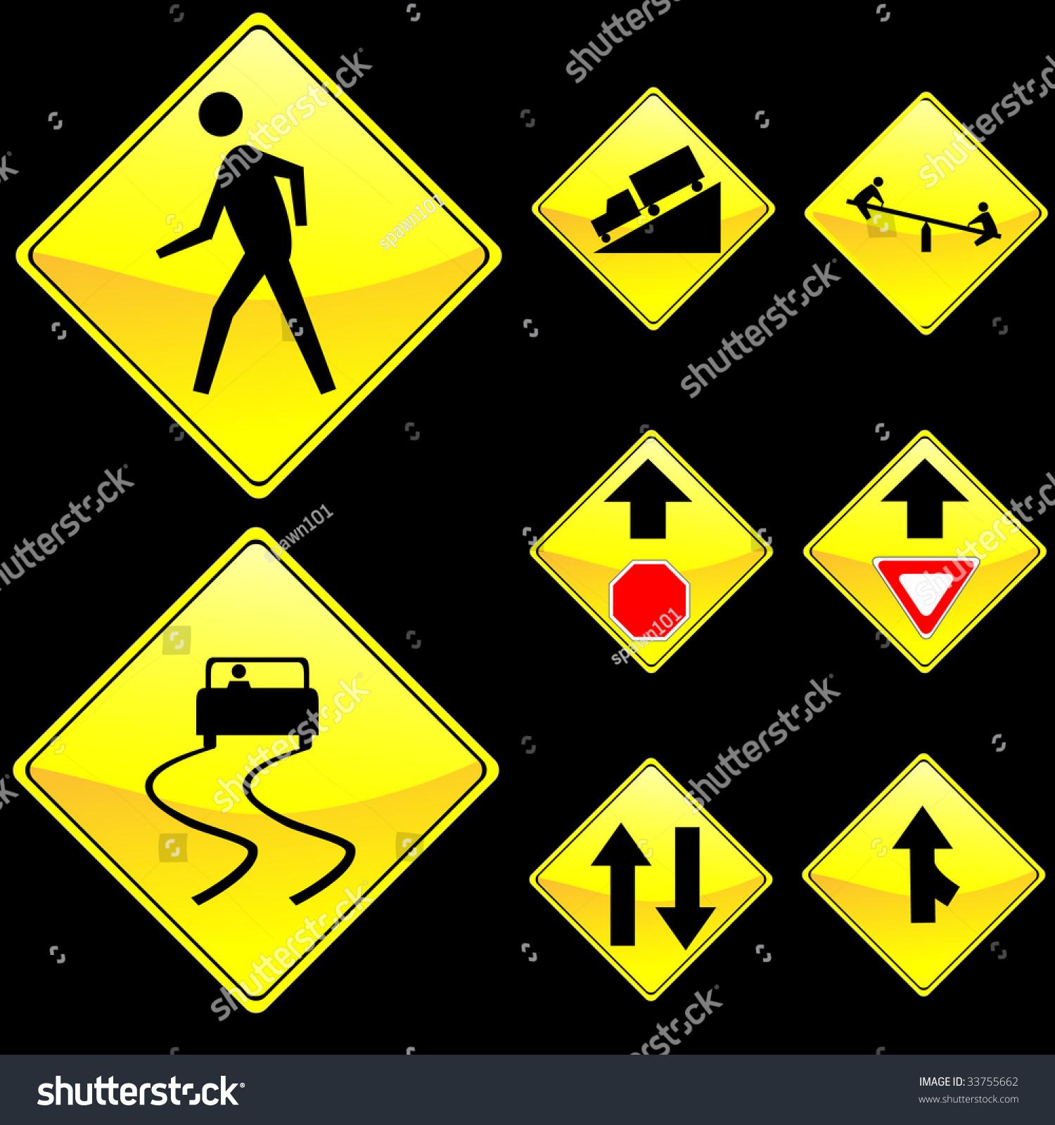 Eight Diamond Shape Yellow Road Signs Set 4 Stock Vector ...