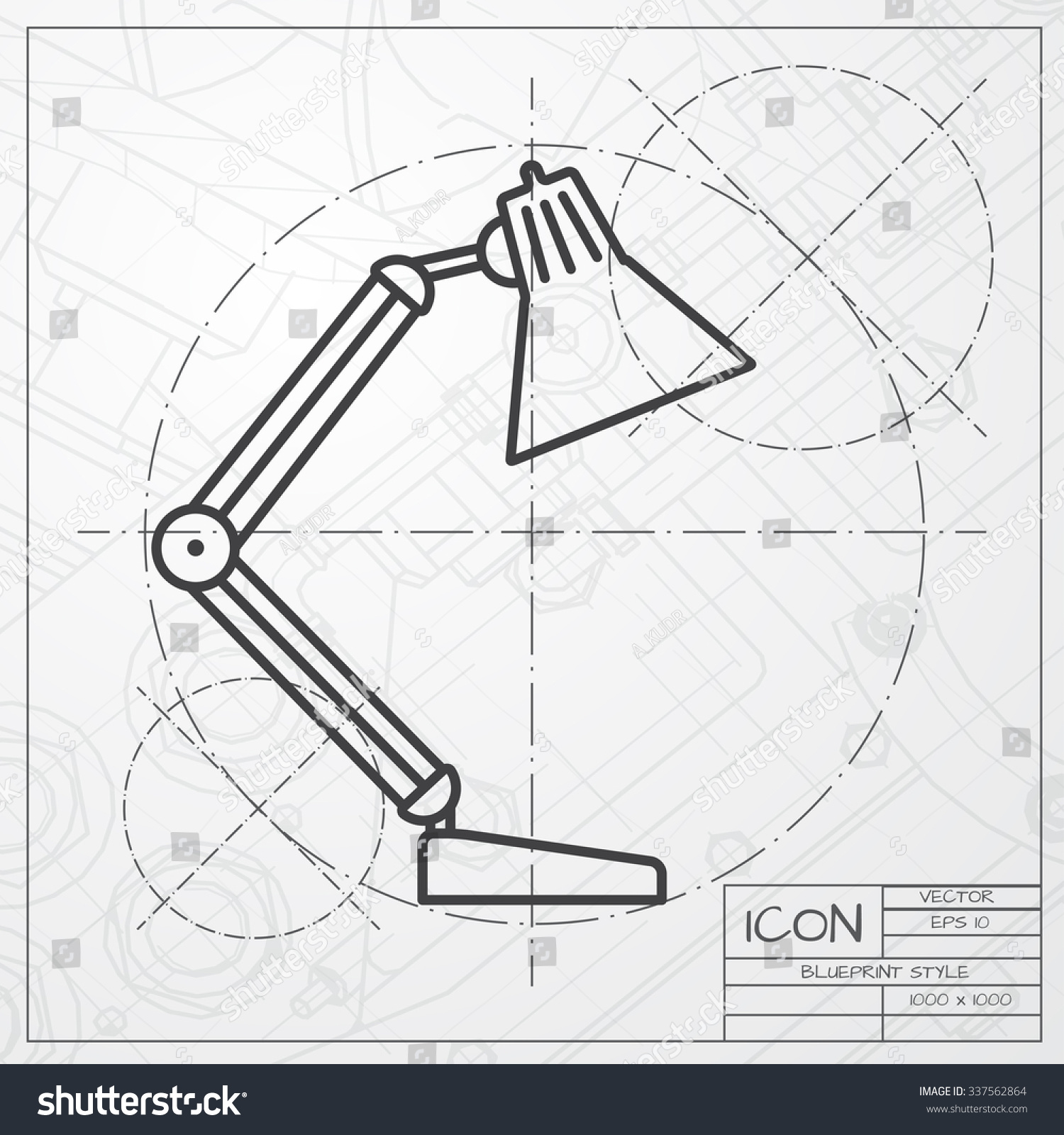 Table lamp for drawing - Vector Blueprint Of Table Lamp Icon On Engineer Or Architect Background