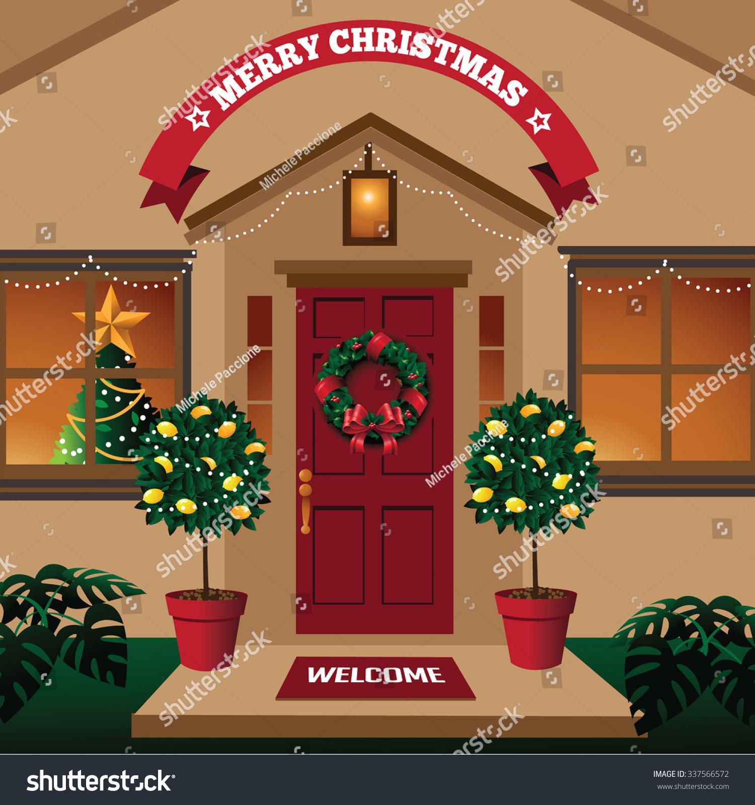 Christmas Front Door Warm Climate Tropical Stock Vector 2018