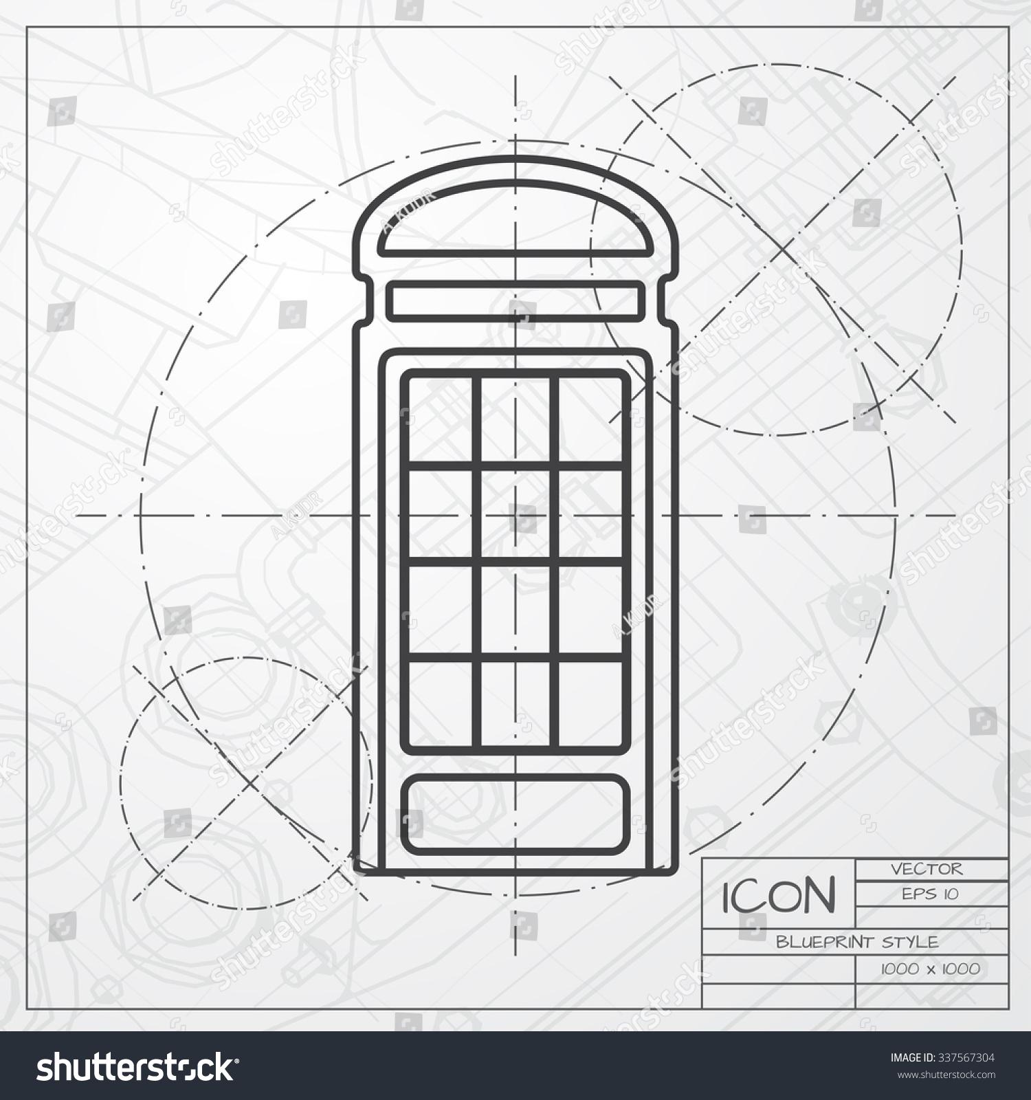 Vector blueprint telephone box icon on stock vector 337567304 vector blueprint of telephone box icon on engineer or architect background malvernweather Images