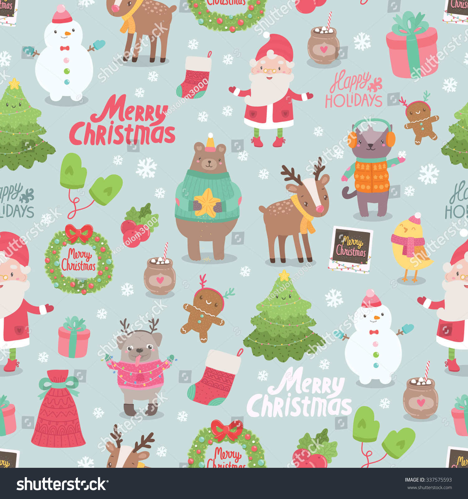 cute merry christmas and happy new year seamless pattern santa claus bird ginger