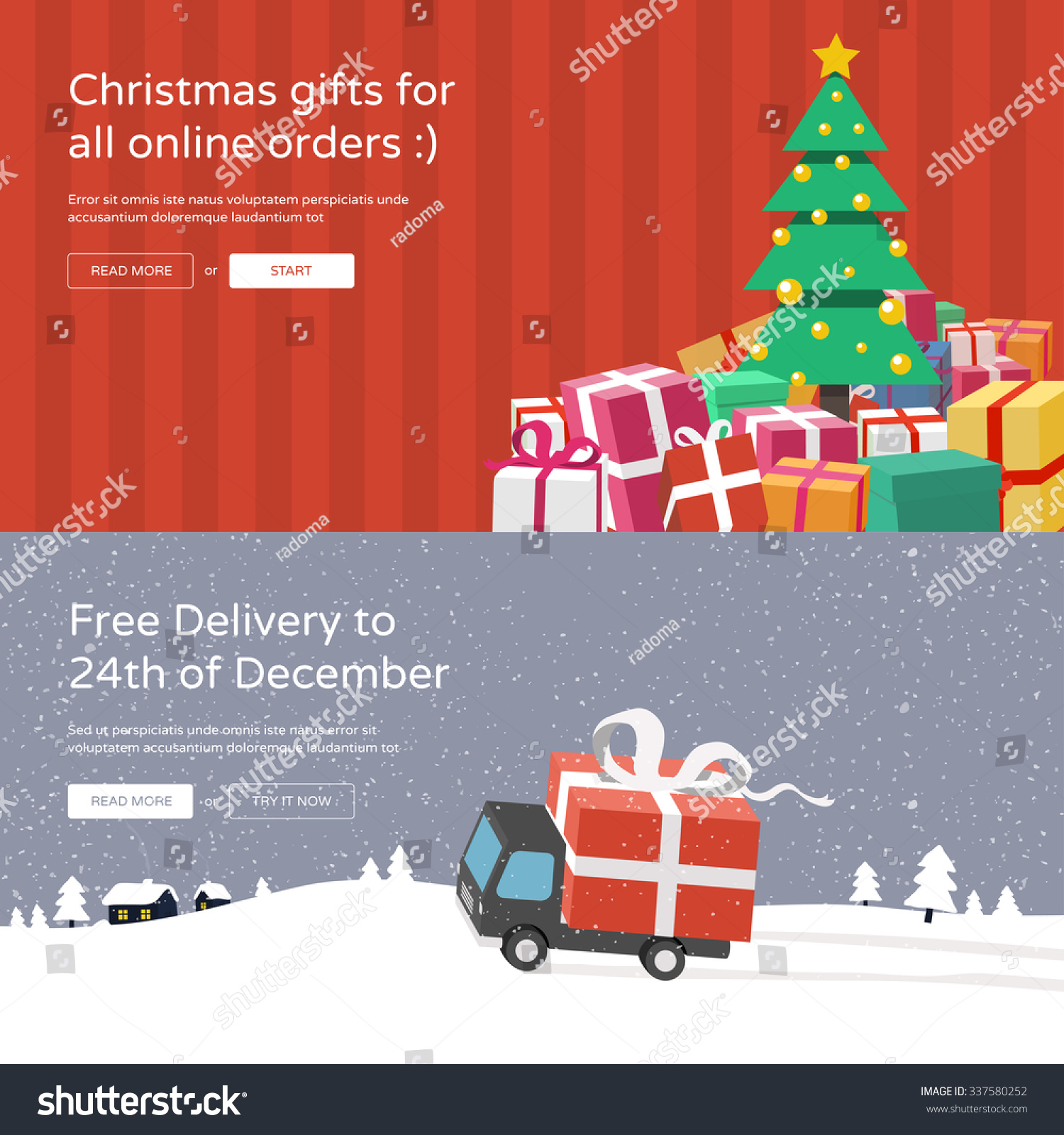 Christmas Website Banners Christmas Tree Gifts Stock Vector (Royalty ...