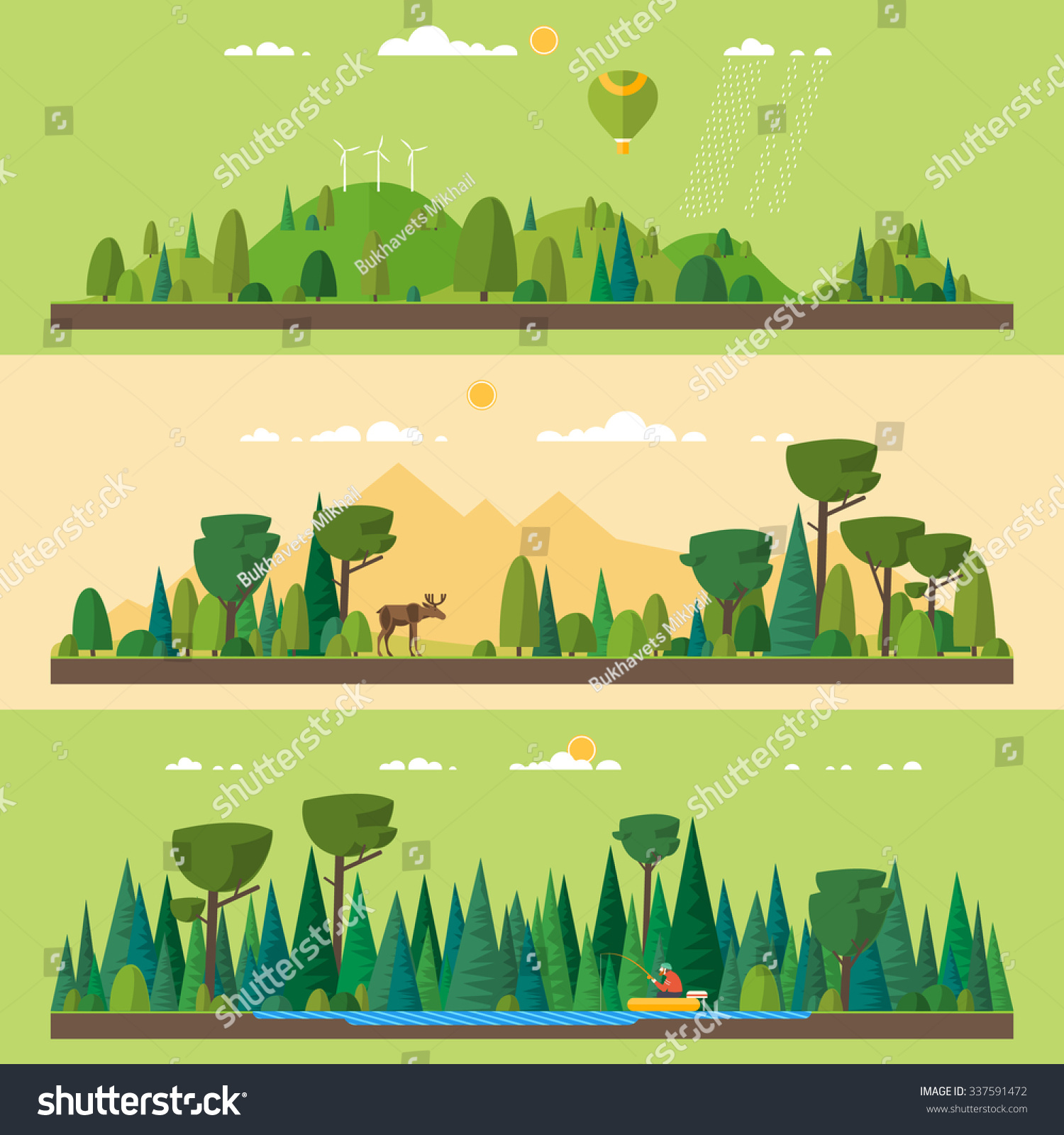 Vector Flat Illustrations Eco Style Life Stock Vector