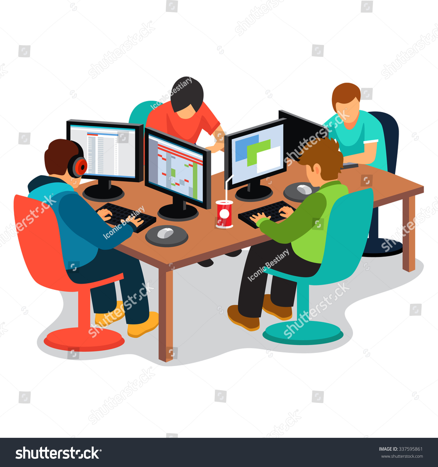 Company Work Group Software Developers People Stock Vector
