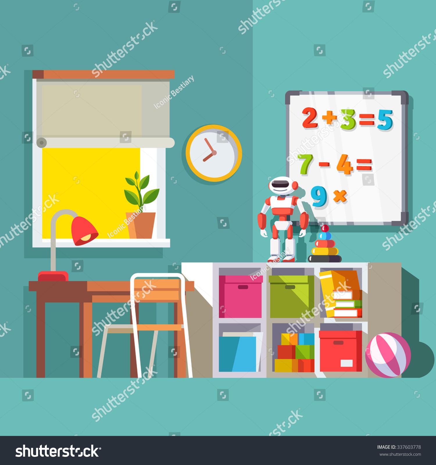 preschool or school student kid room interior study desk at the window storage combination