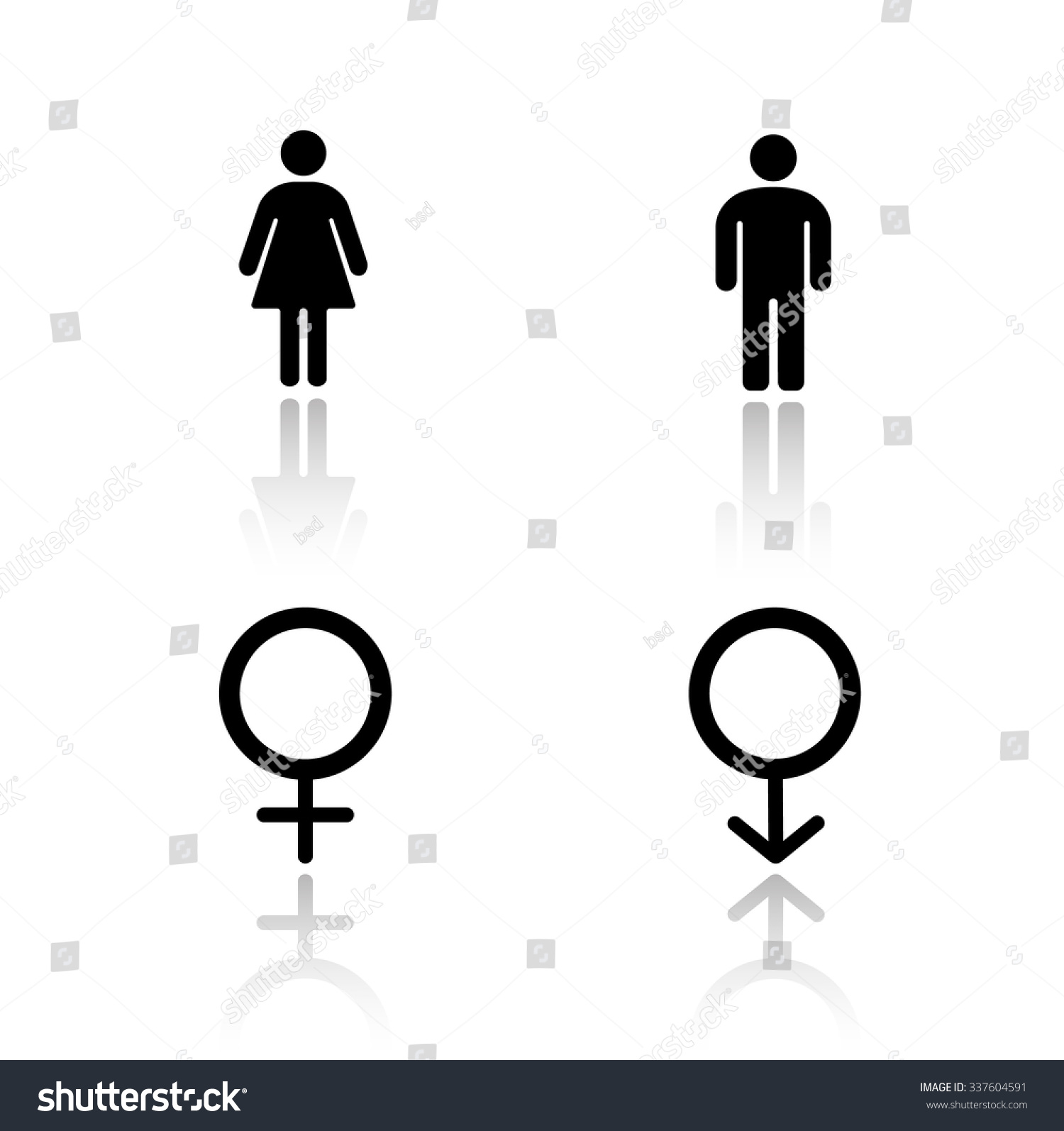 Man Woman Silhouettes Drop Shadow Icons Stock Vector -8178