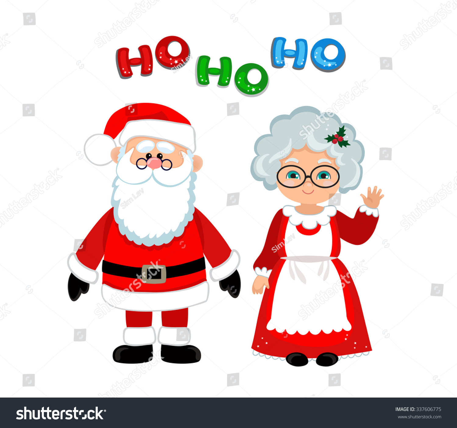 santa mrs claus standing christmas stock vector 337606775