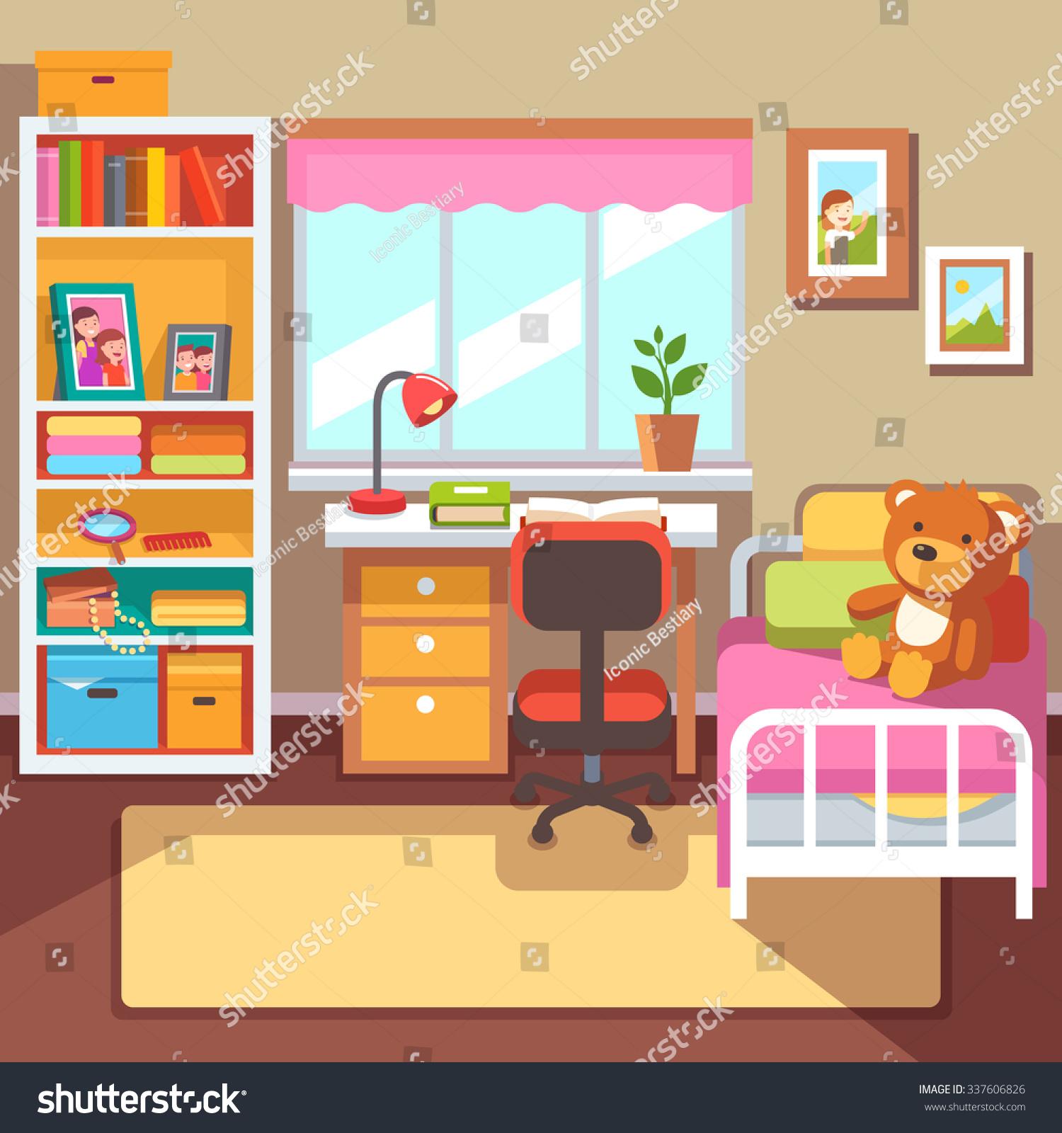 preschool school student girls room interior stock vector