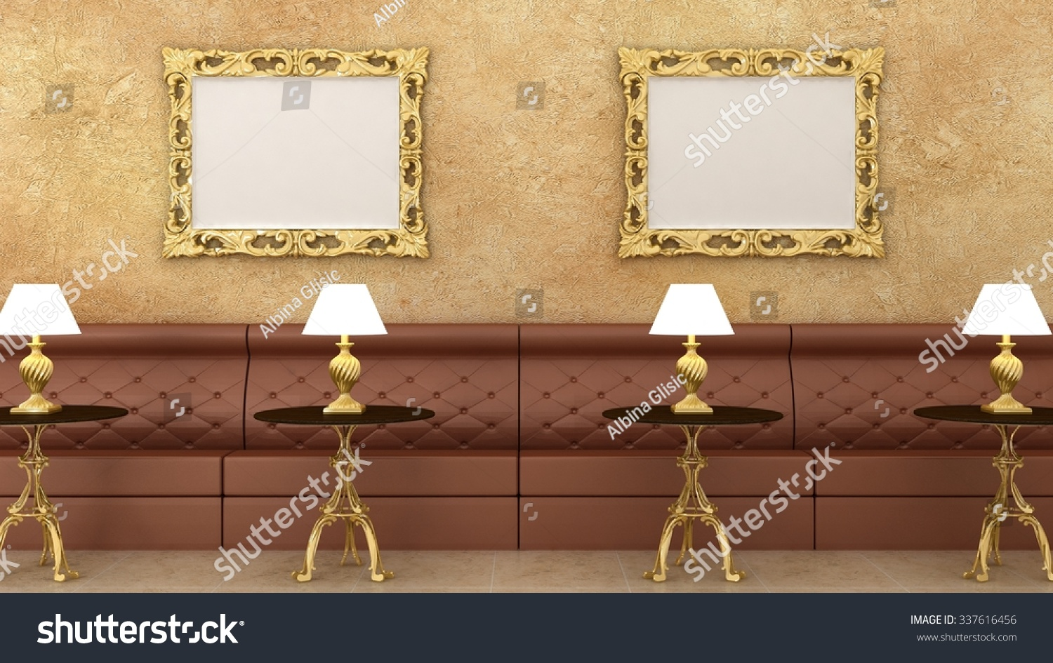 empty golden picture frames classic cafe stock illustration