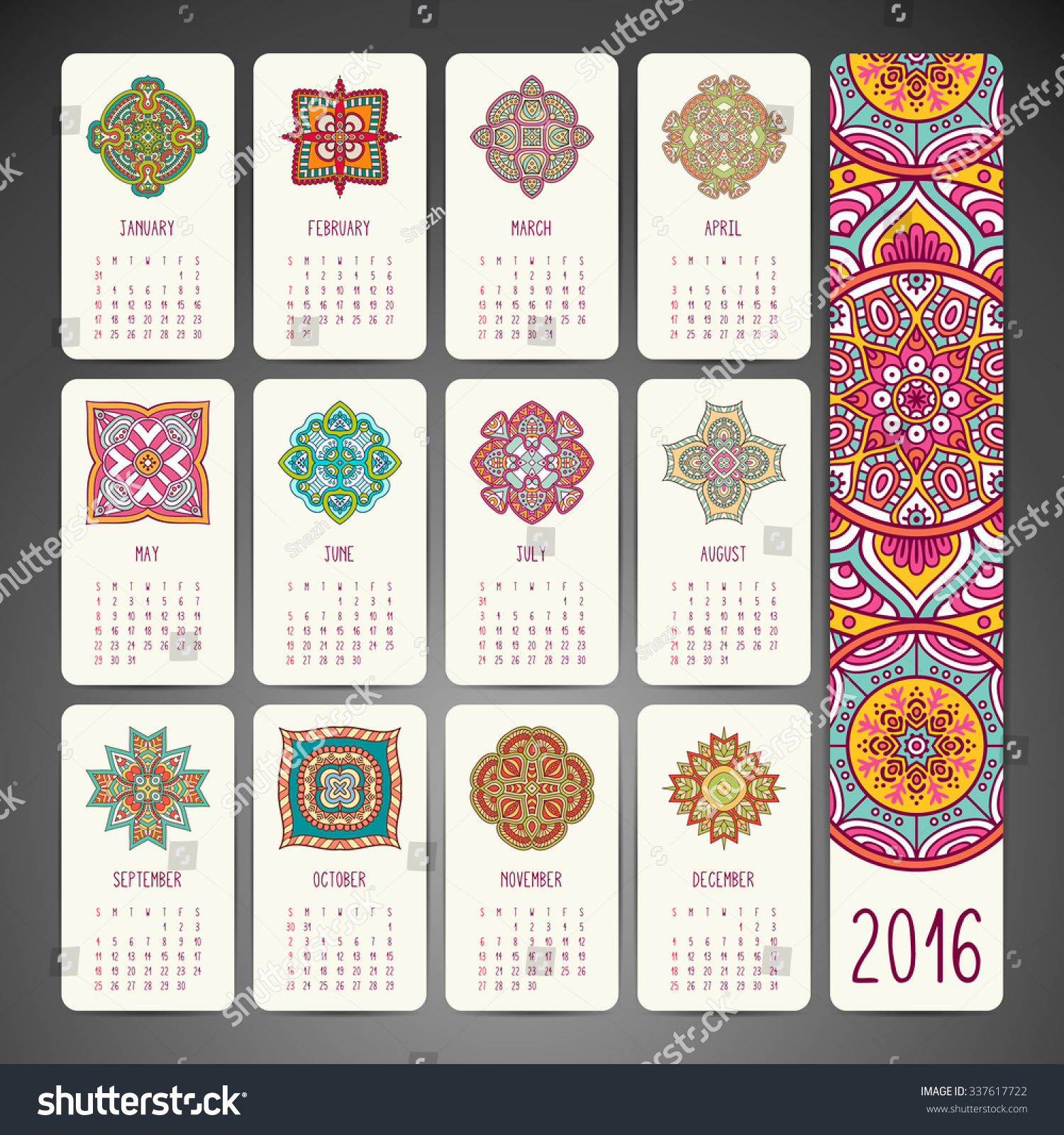 Calendar Vintage Vector : Calendar vintage decorative elements ornamental stock