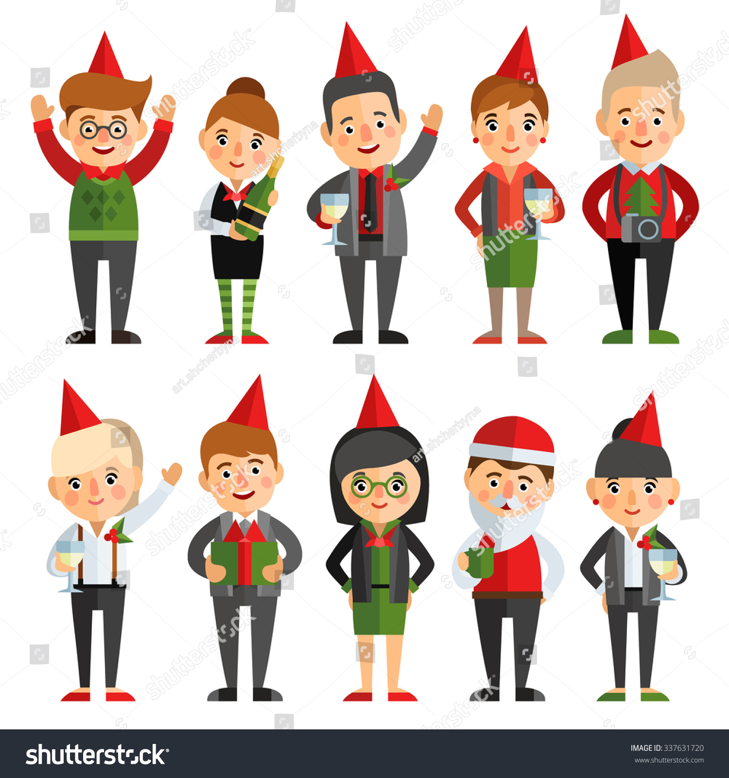 Set Characters Flat Style Christmas Party Stock Vector (Royalty Free ...