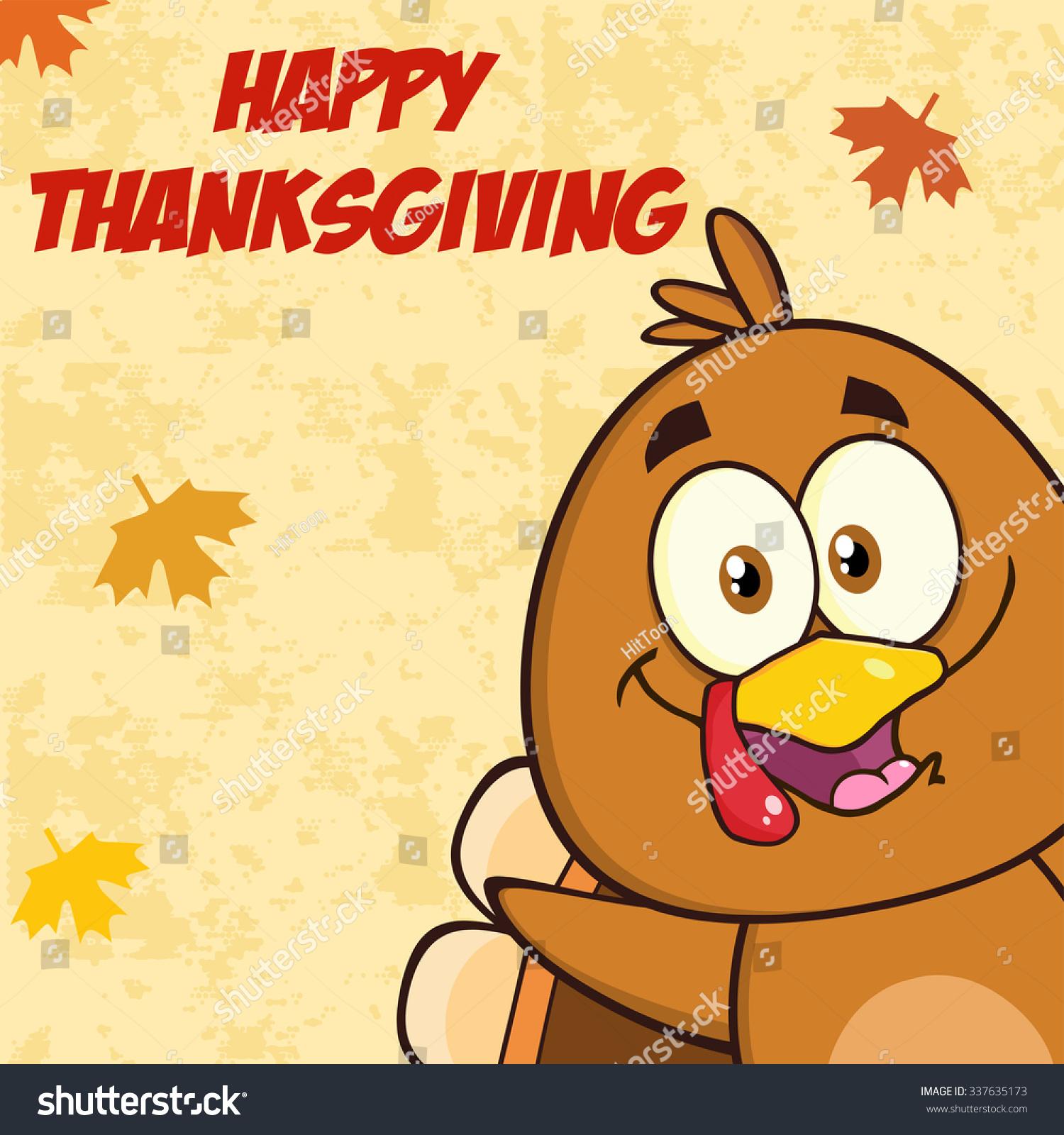 Funny Turkey Bird Cartoon Character Looking Stock Vector 337635173