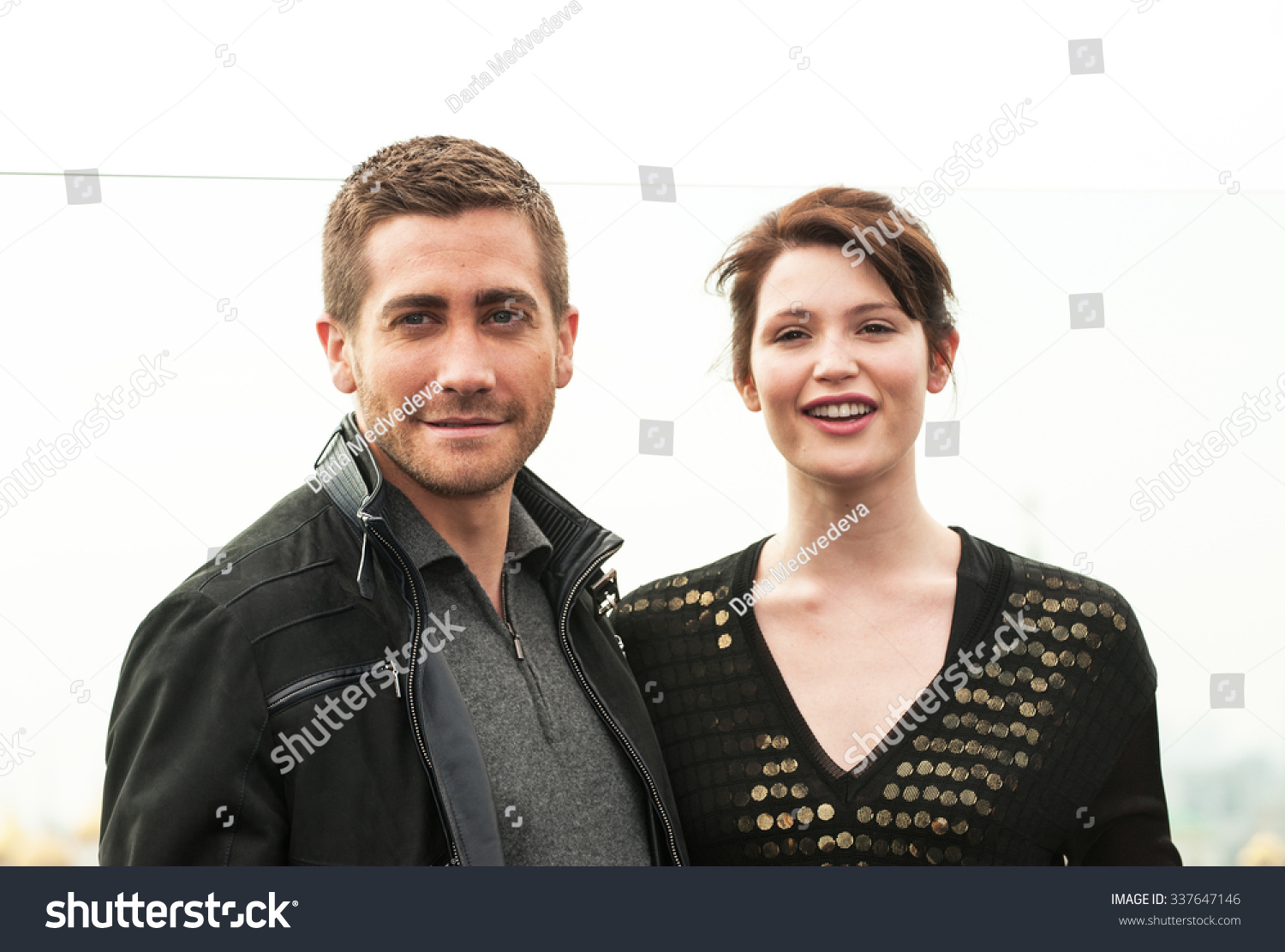 MOSCOW, RUSSIA - MAY 11, 2010: Photocall on the roof of Ritz-Carlton hotel.  Jake Gyllenhaal and Gemma Arterton on the Prince of Persia, The Sands of  Time ...