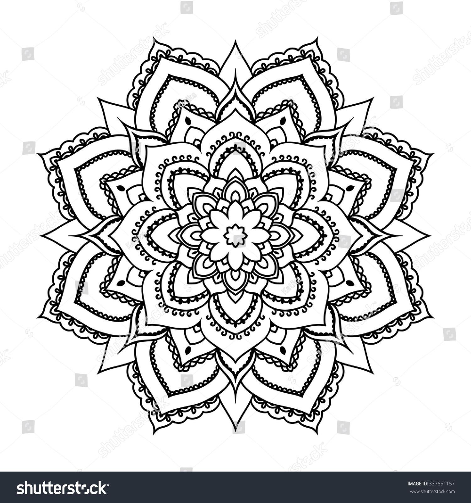 Vector Henna Tatoo Mandala Mehndi Style Stock Vector