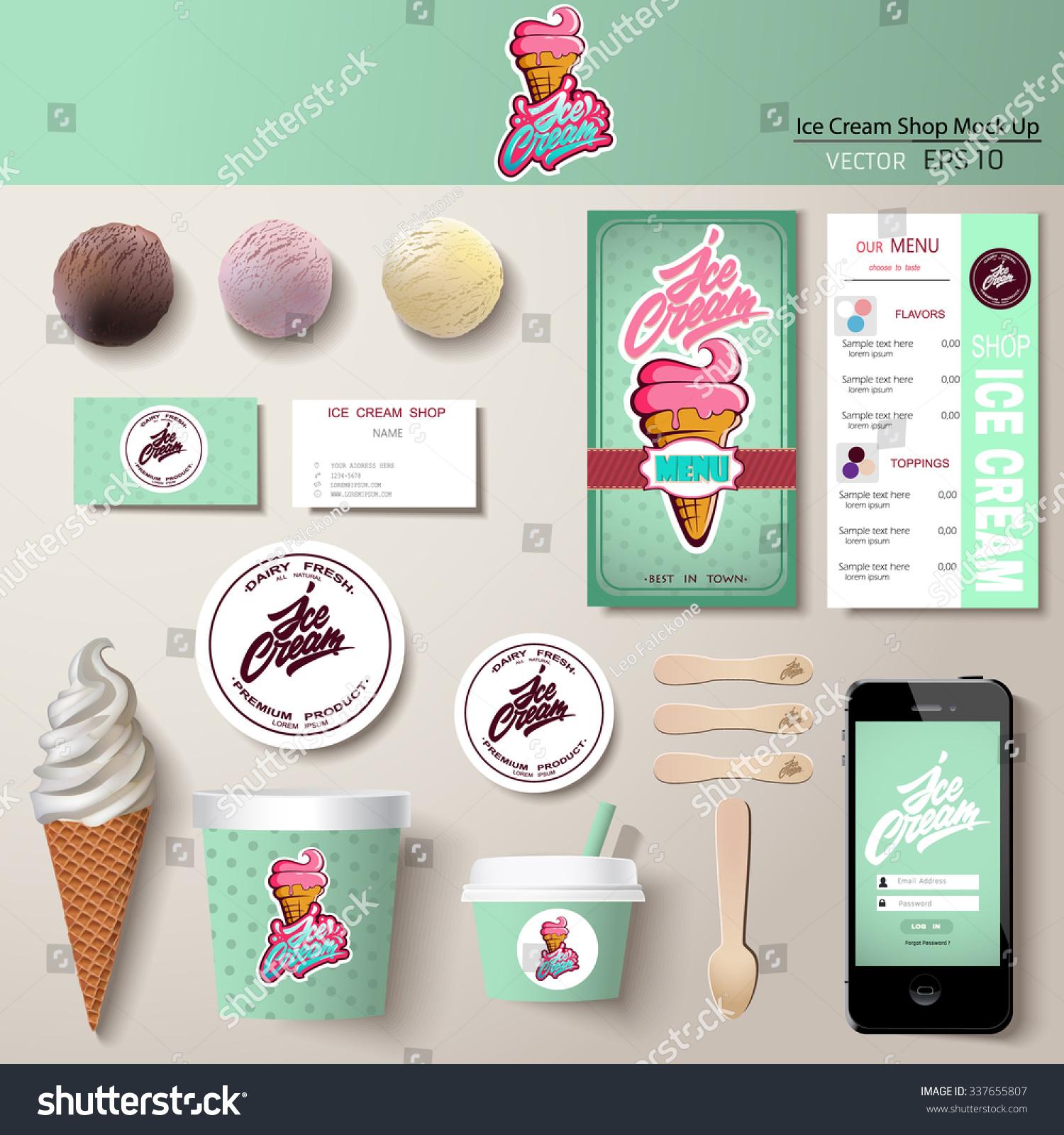 Vector Ice Cream Corporate Identity Template Stock Vector Royalty