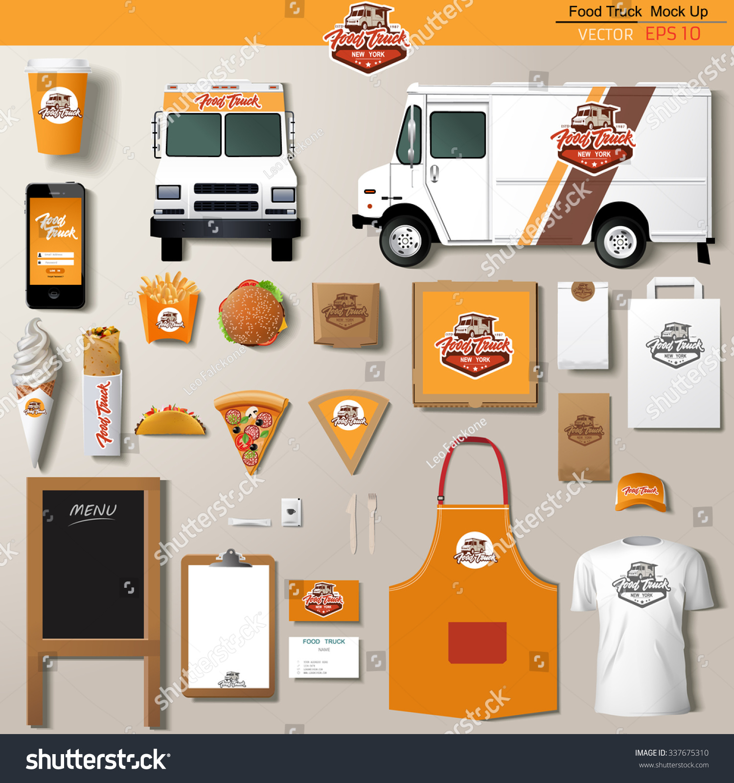 vector food truck corporate identity template stock vector 337675310 shutterstock. Black Bedroom Furniture Sets. Home Design Ideas
