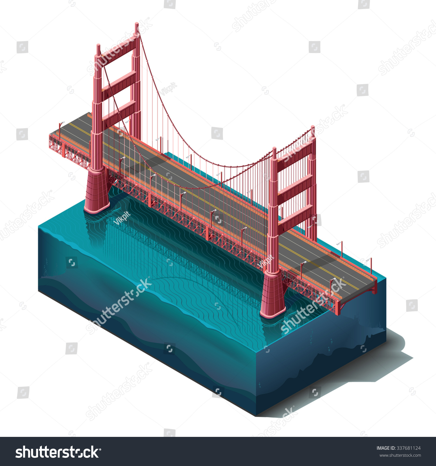 Vector Icons Set Bridge Over Riverdesign Stock Vector