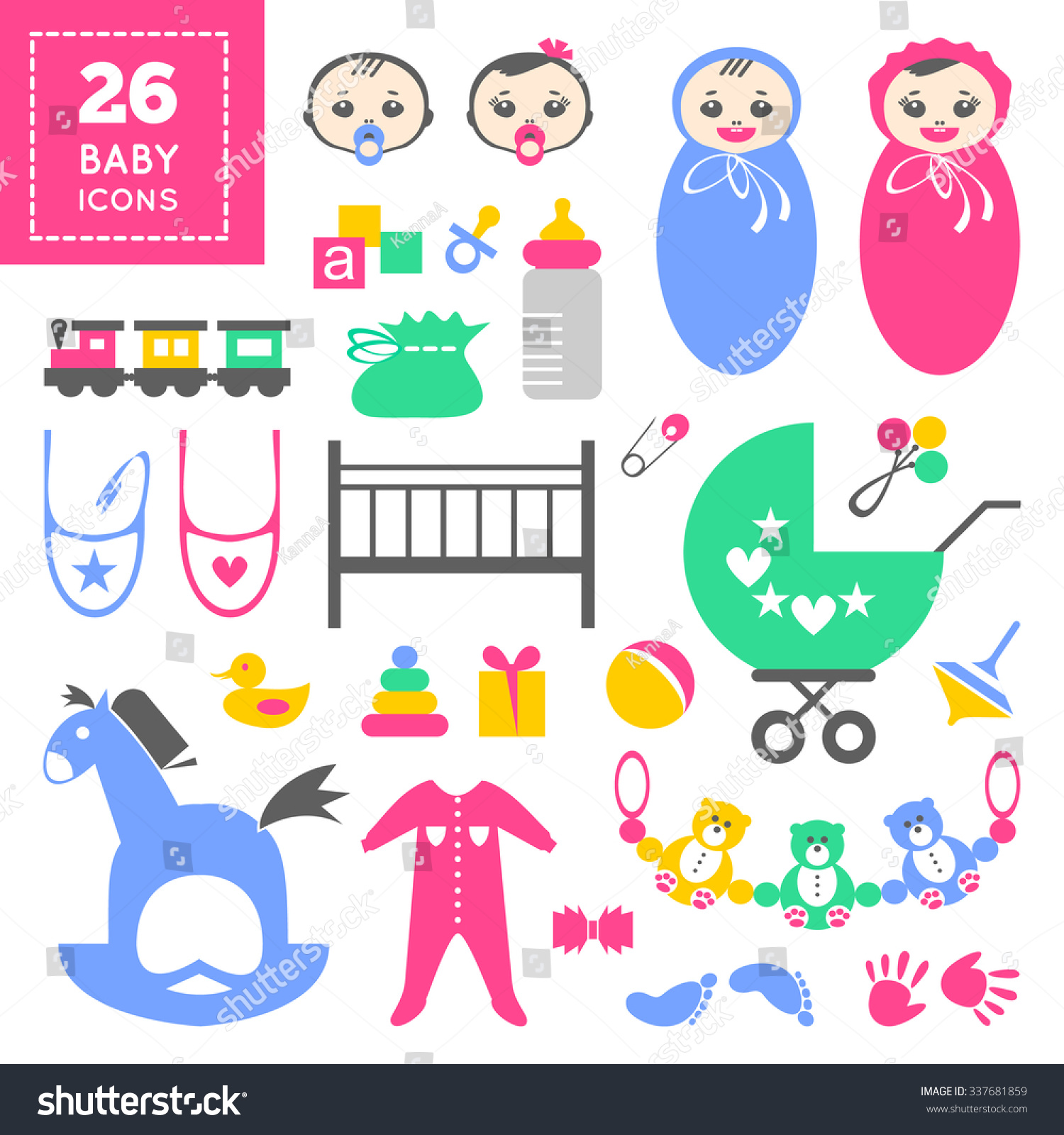 Colorful Baby Icon Set Cool Cartoon Stock Vector