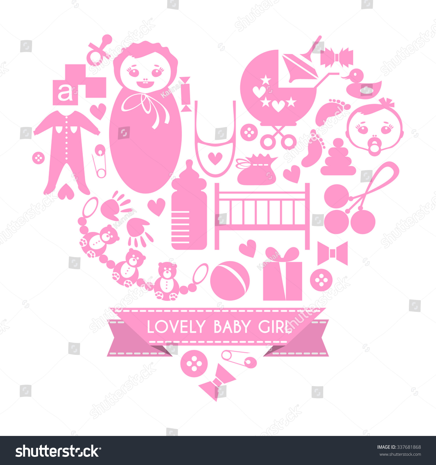 Baby Shower Girl Songs ~ Newborn baby girl icons set cute stock vector