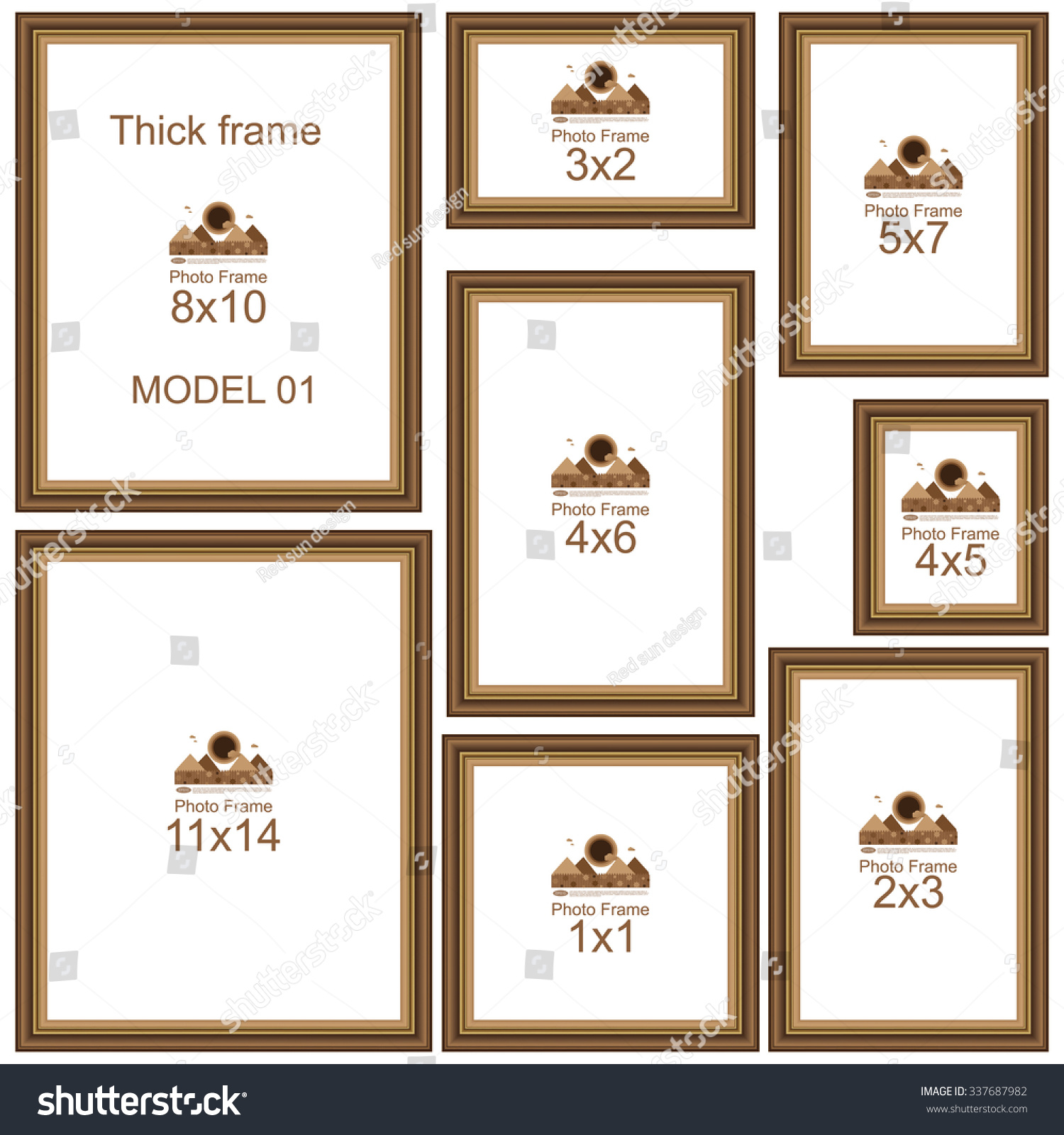 Popular Picture Frame Sizes Wood Border Stock Vector