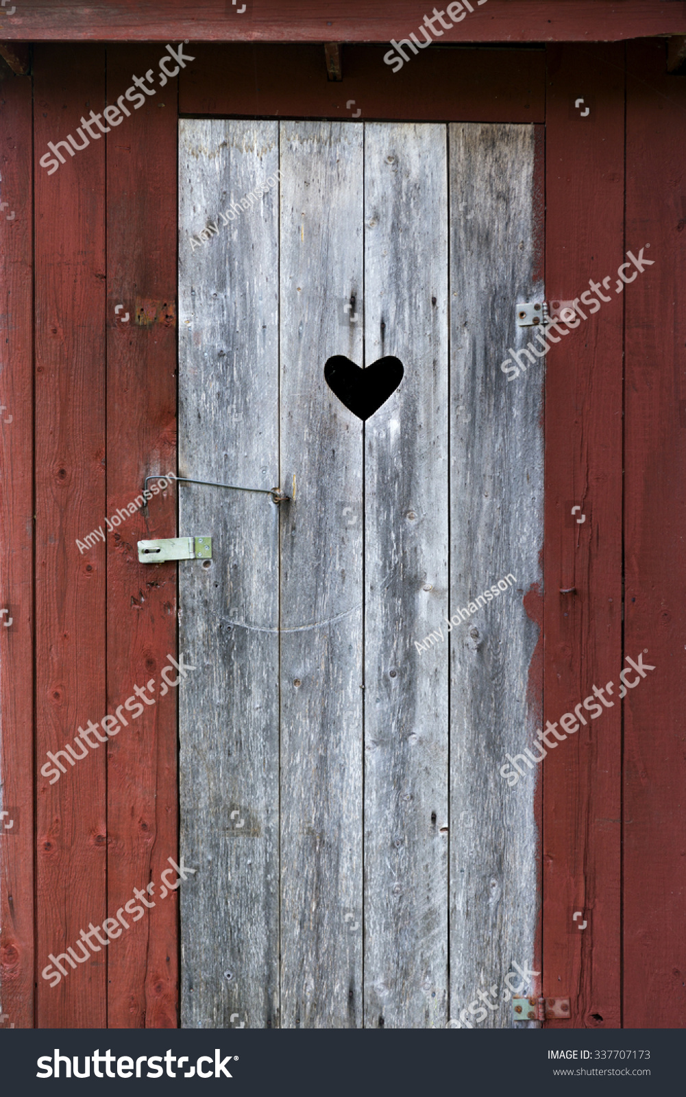 Door With Heart On Old Wooden Outdoor Traditional Swedish Toilet In  Countryside